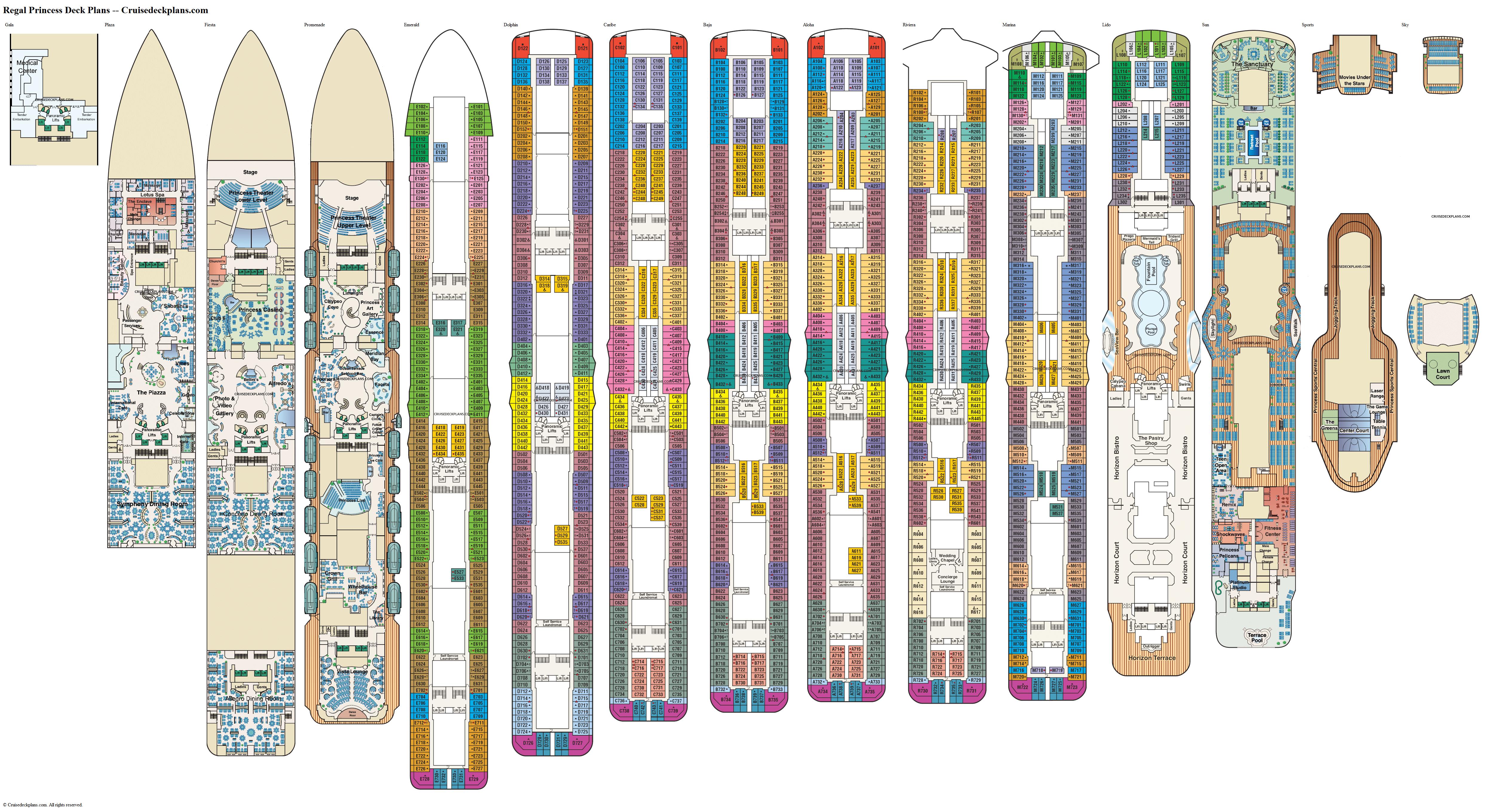 Regal Princess Deck Plans Diagrams Pictures Video