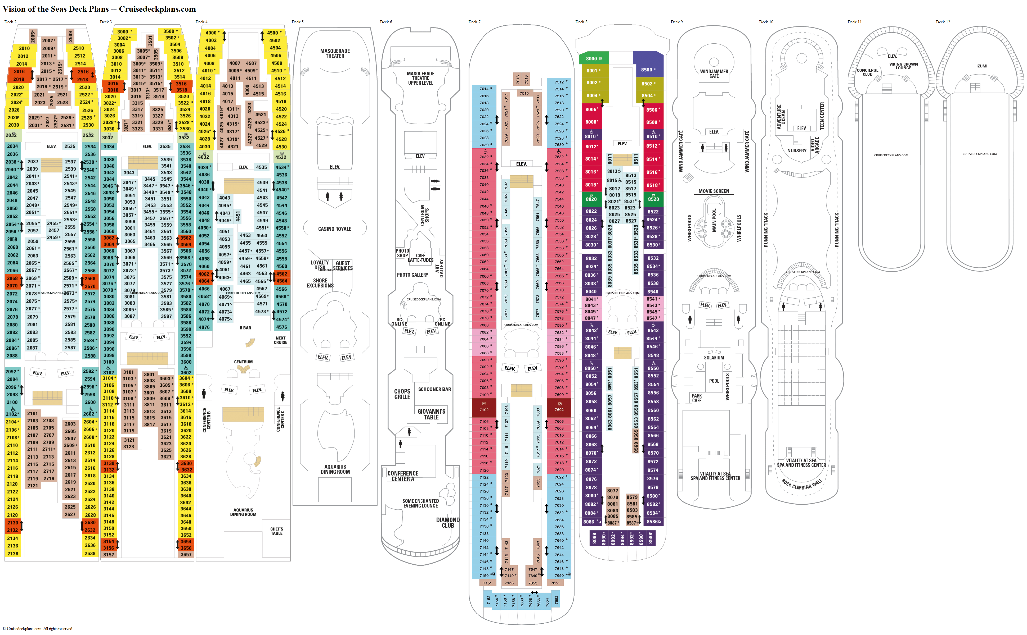 Vision Of The Seas Deck Plans Diagrams Pictures Video