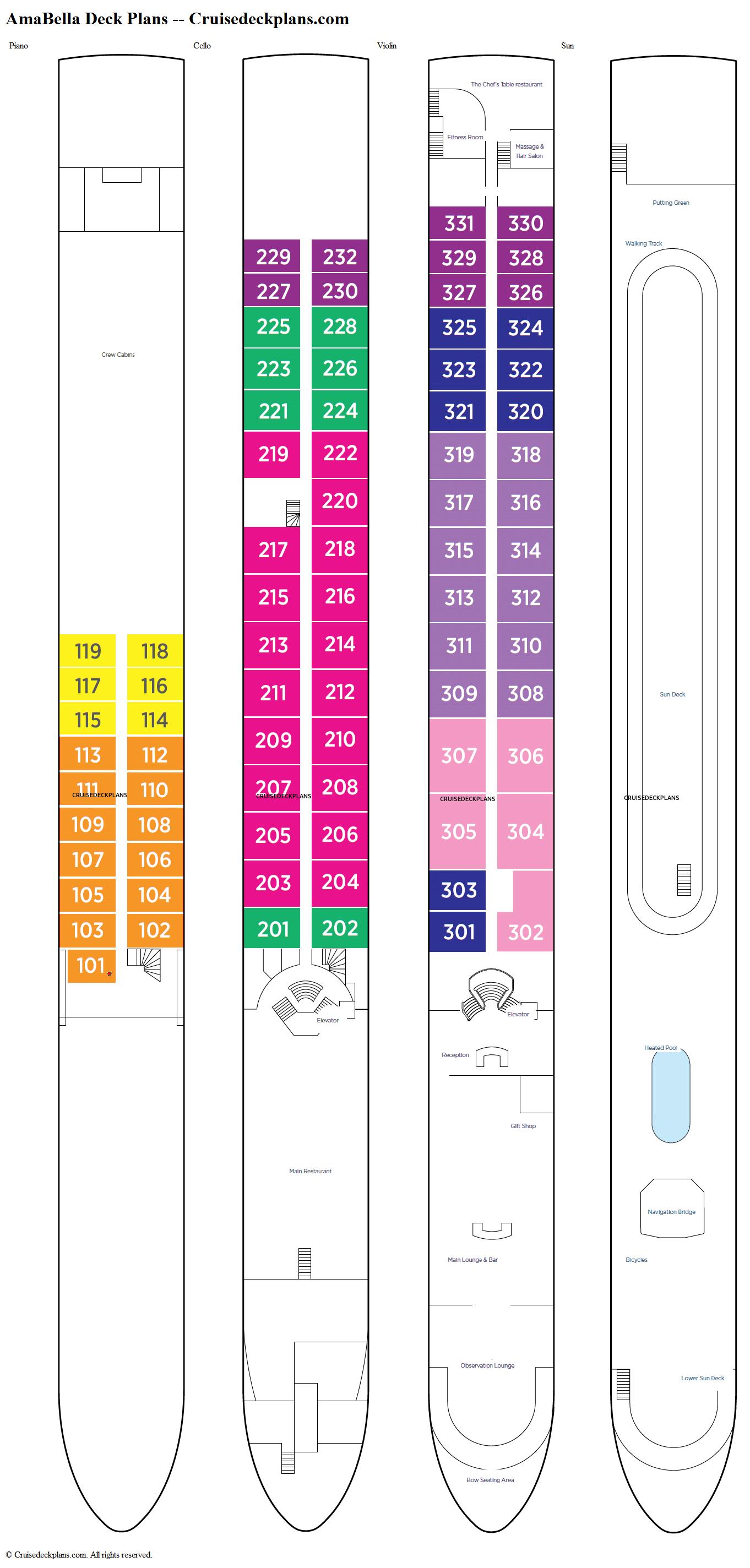 AmaBella Piano Deck Plan Tour