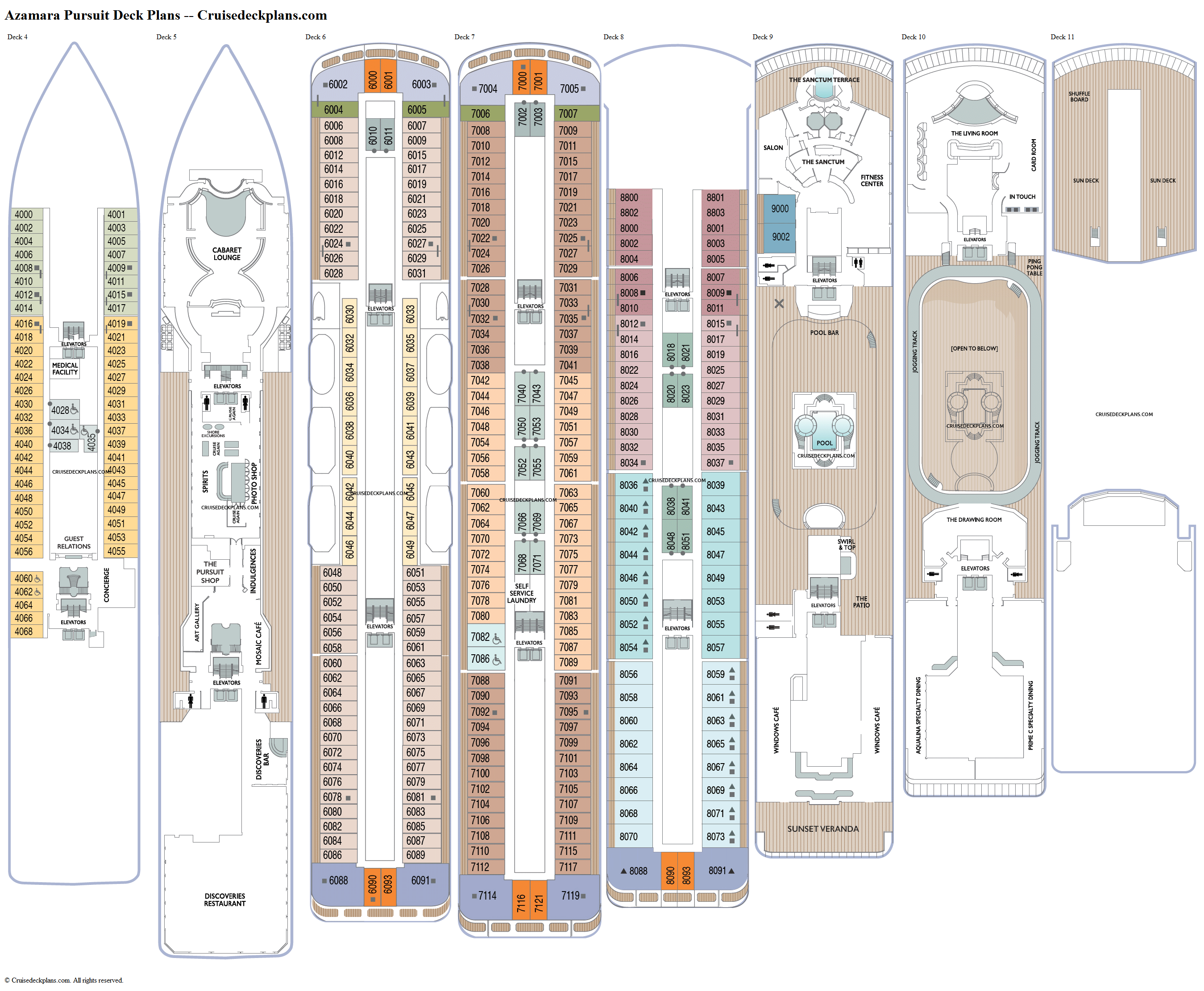 Azamara Pursuit deck plans image