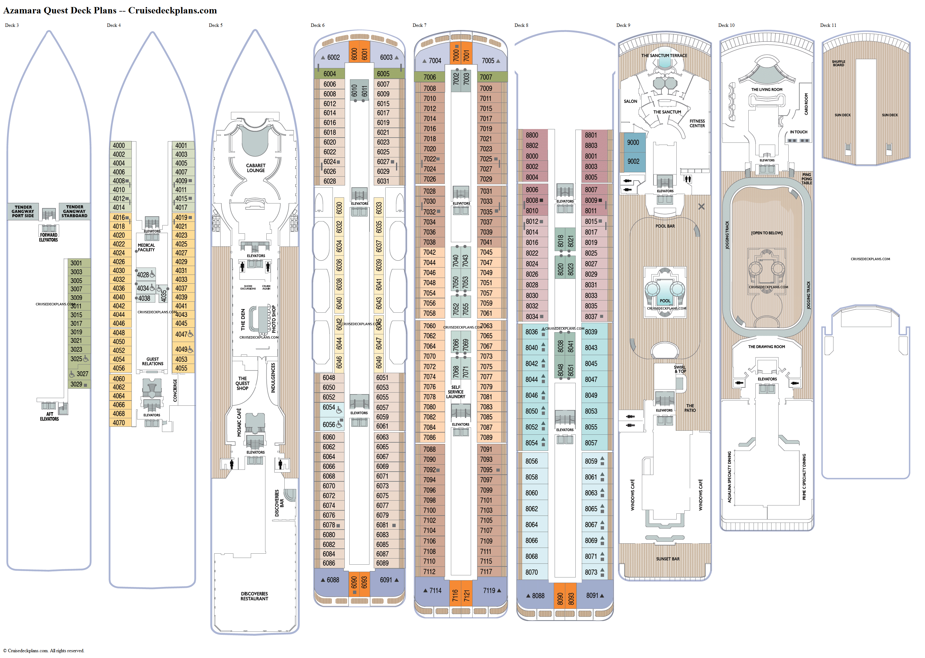 Azamara Quest deck plans image