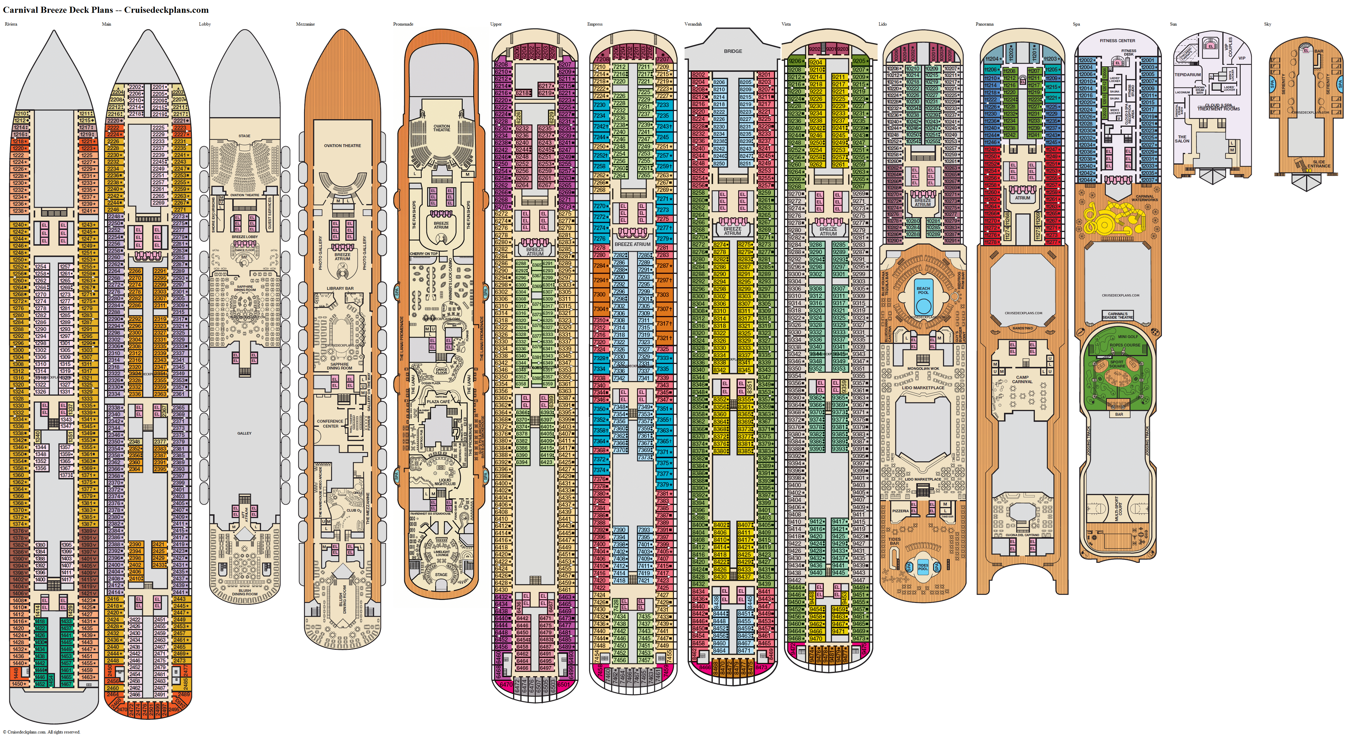 Carnival Breeze deck plans image