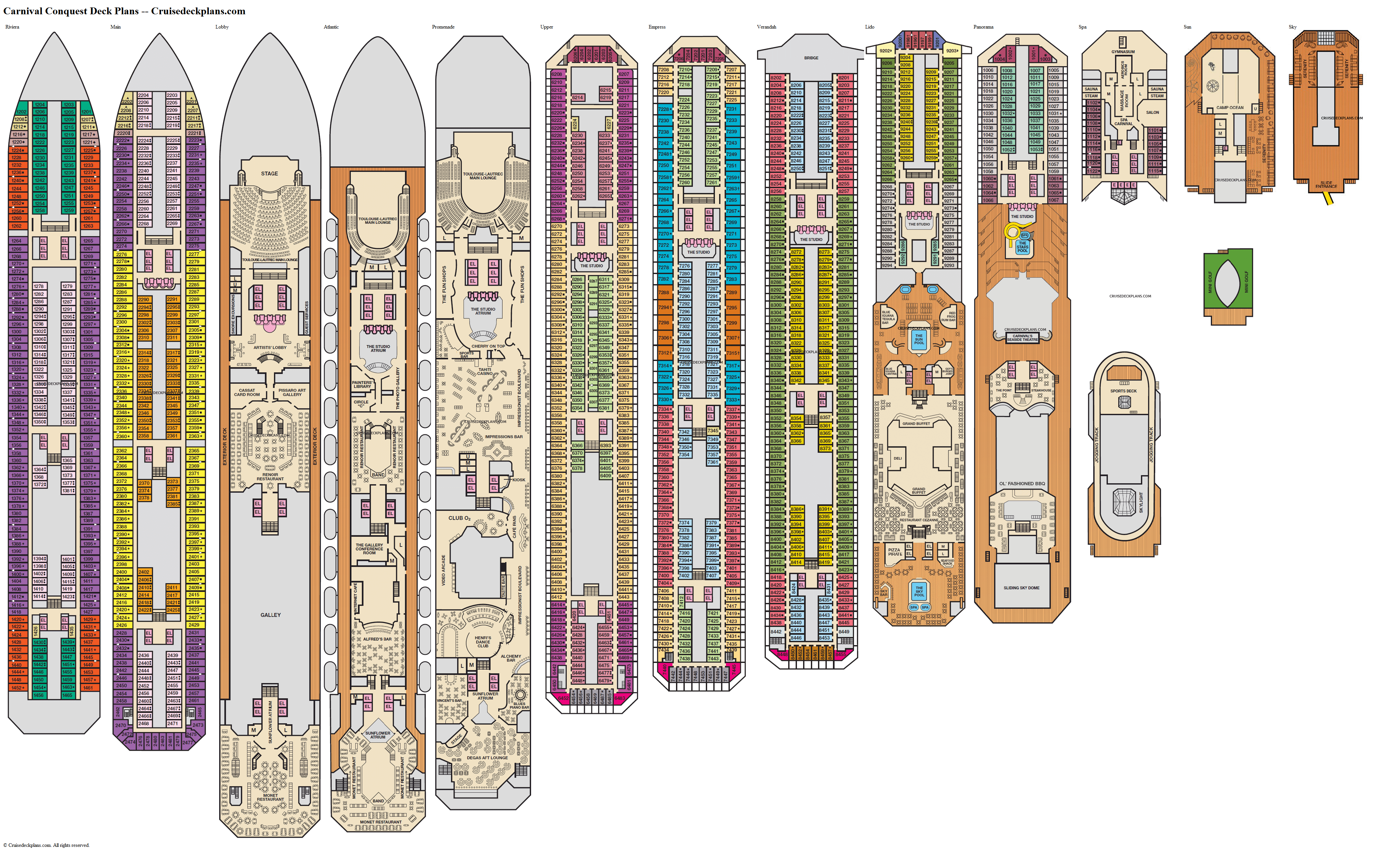 Carnival Conquest deck plans image