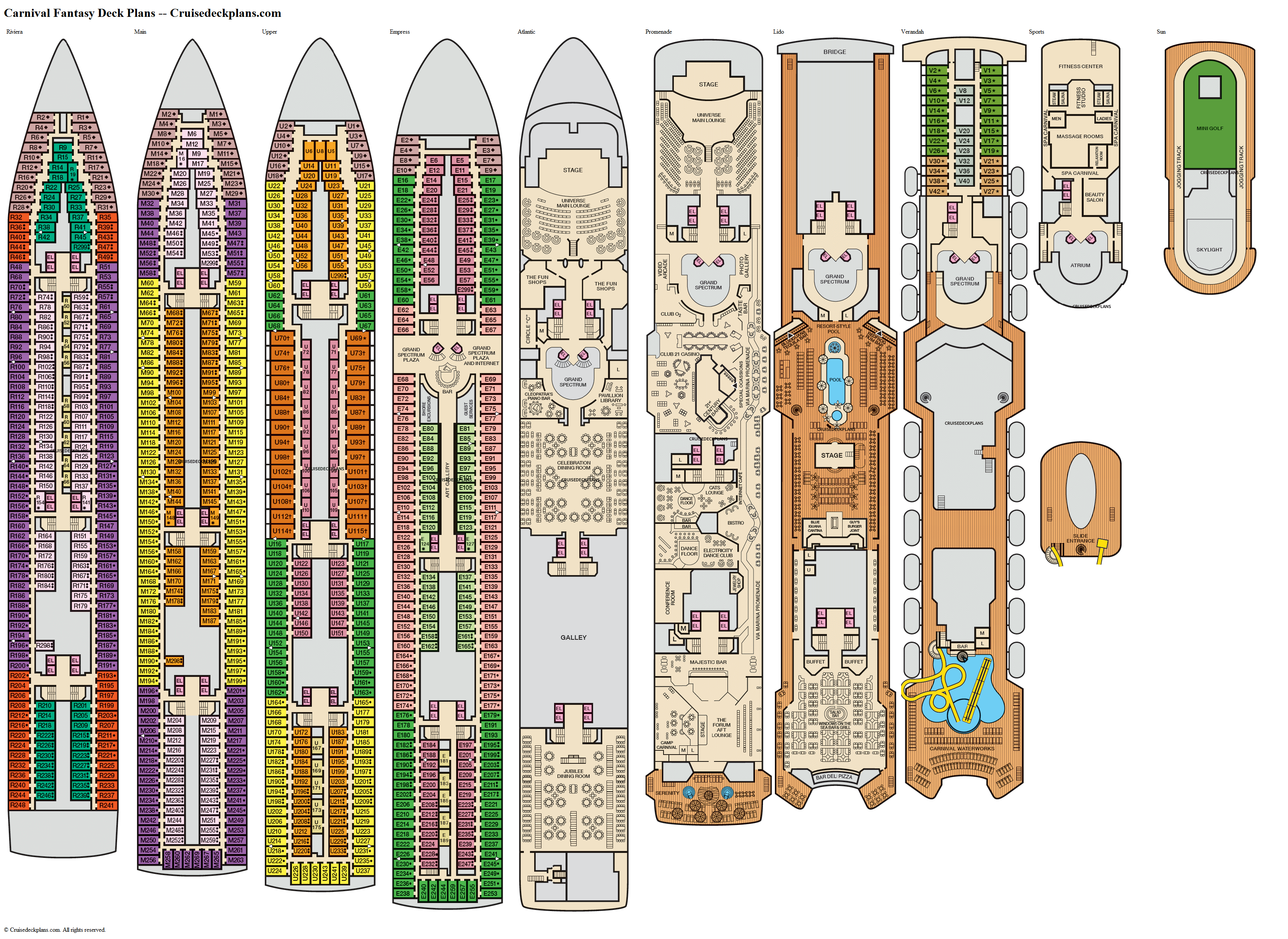 Carnival Fantasy deck plans image