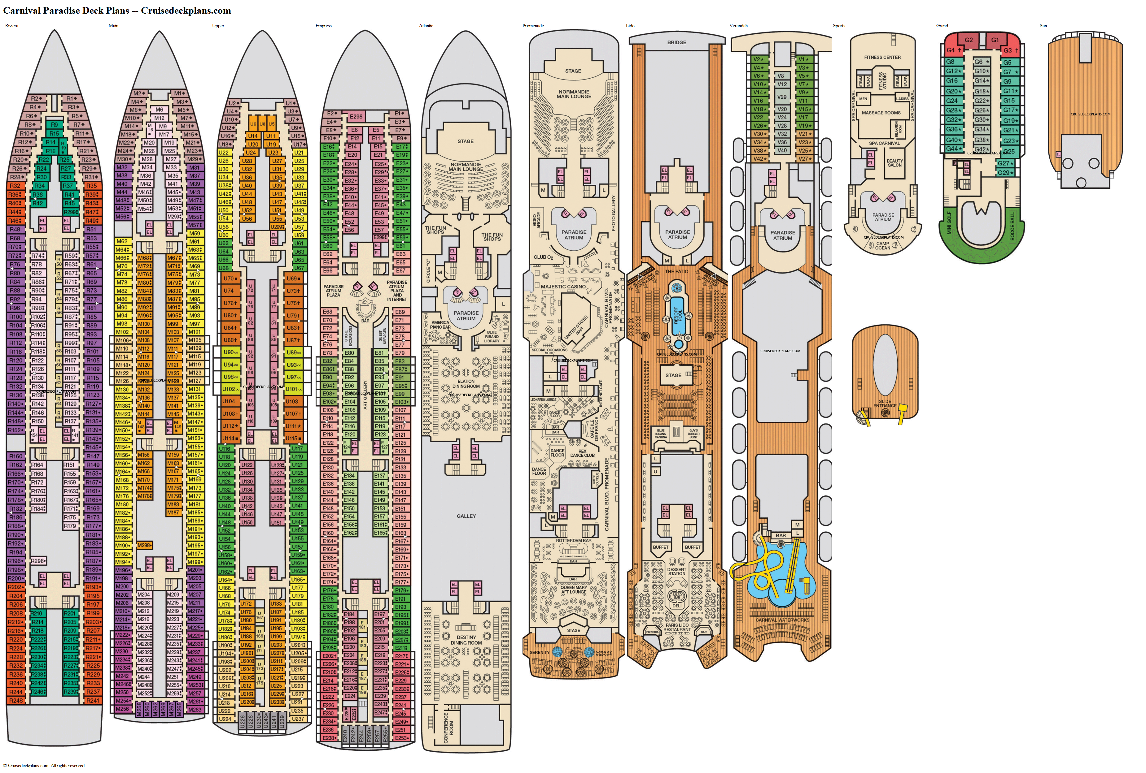Carnival Paradise Deck Plans, Diagrams, Pictures, Video on