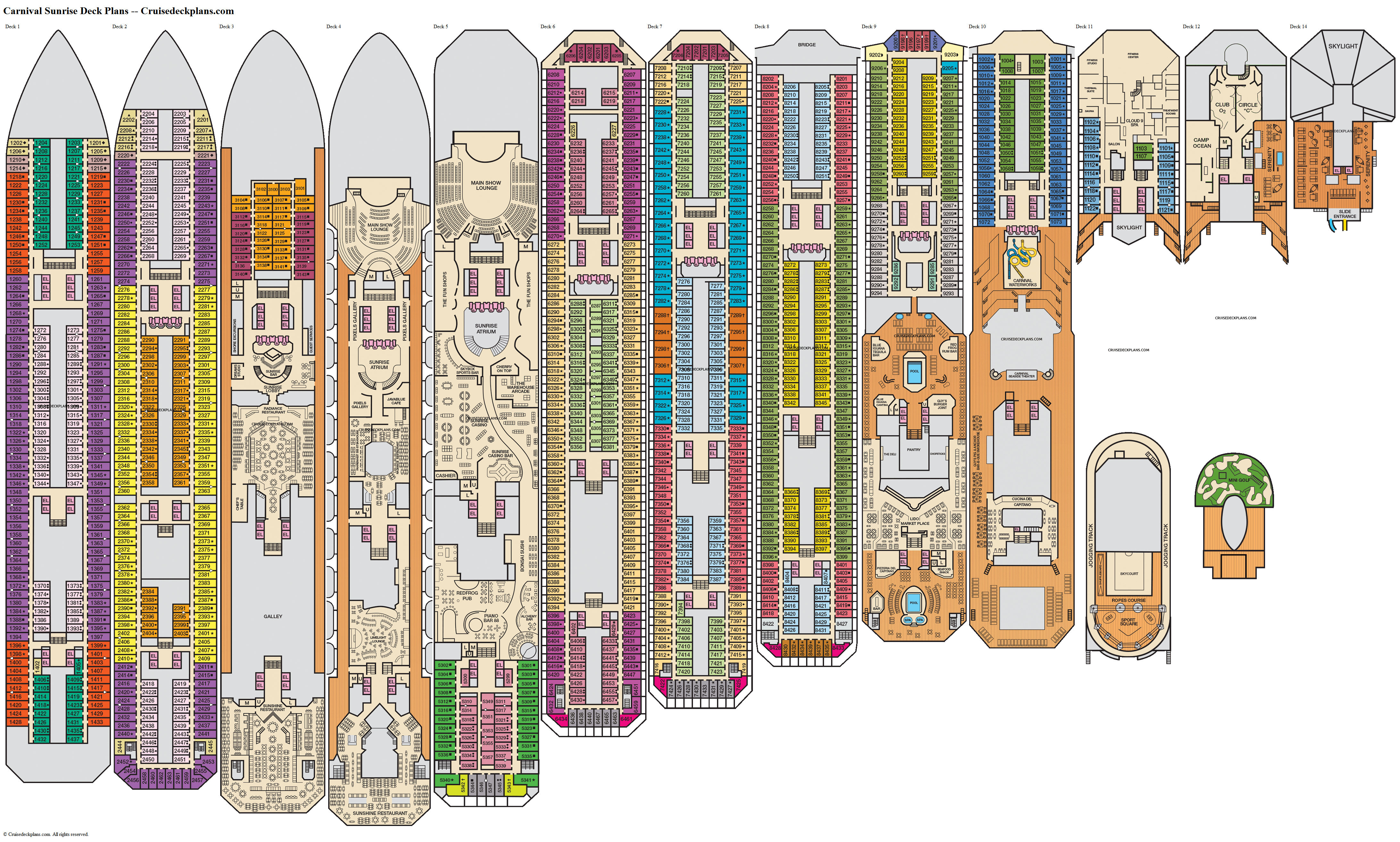 Carnival Sunrise deck plans image