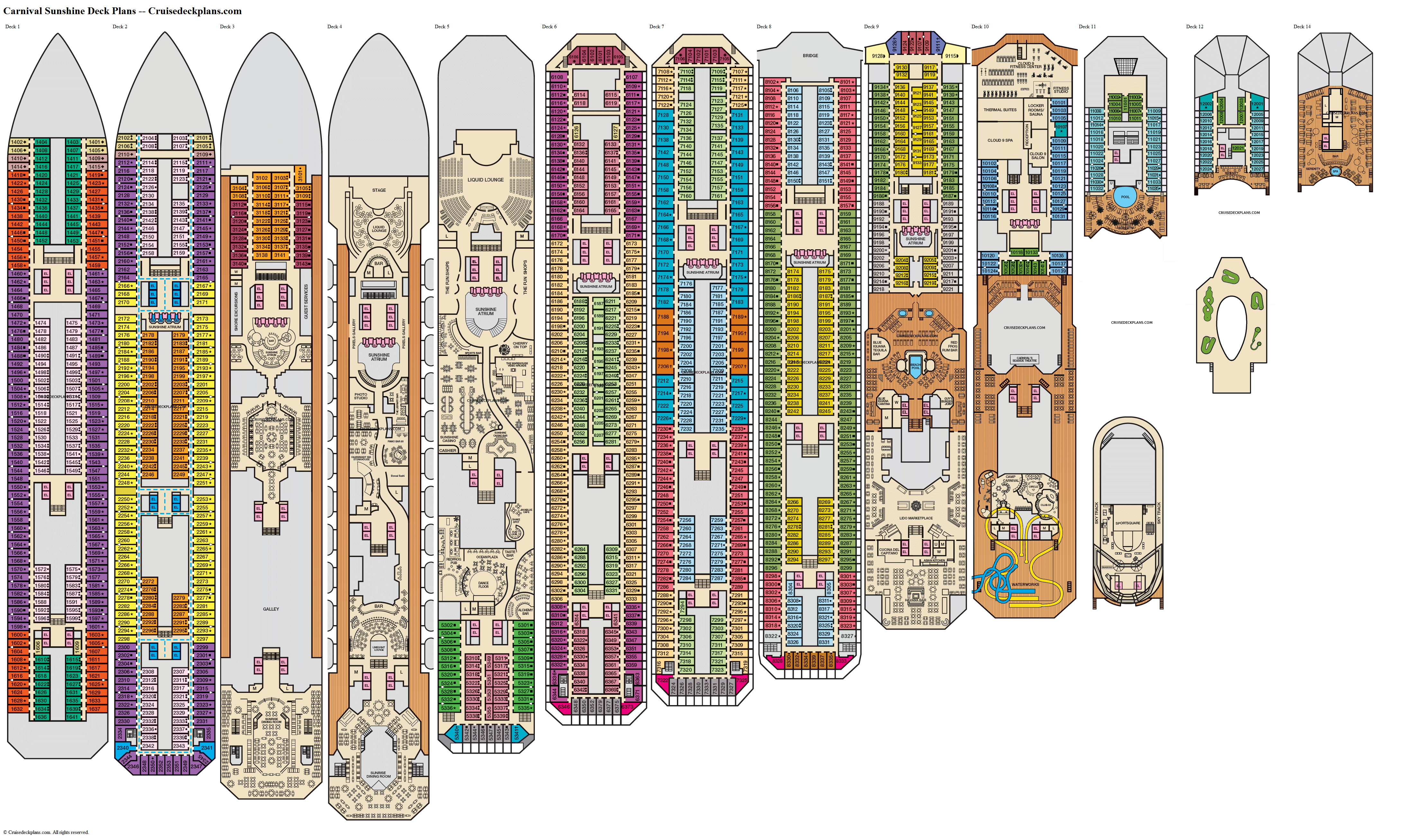 Carnival Sunshine deck plans image