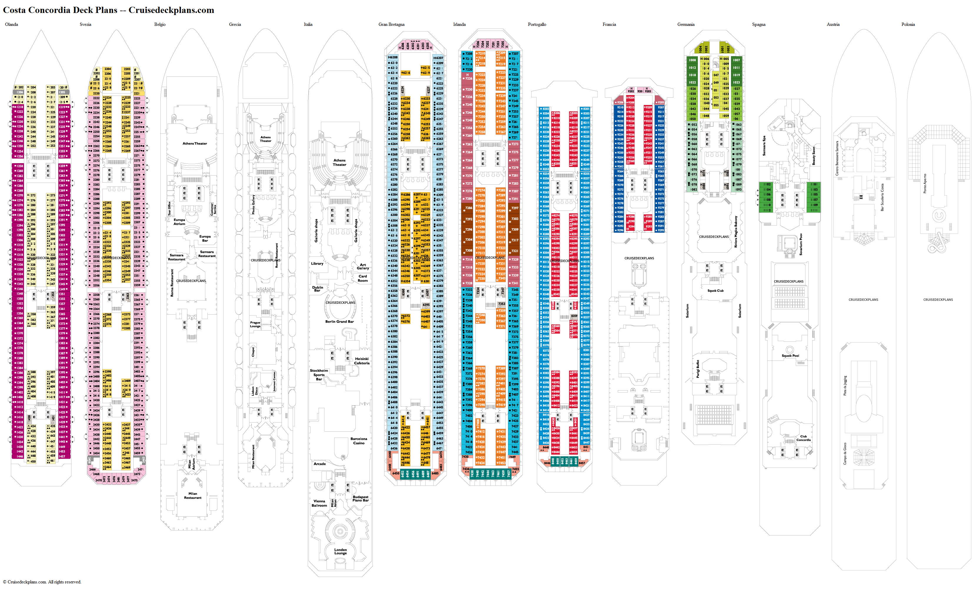Costa Concordia Italia Deck Plan Tour