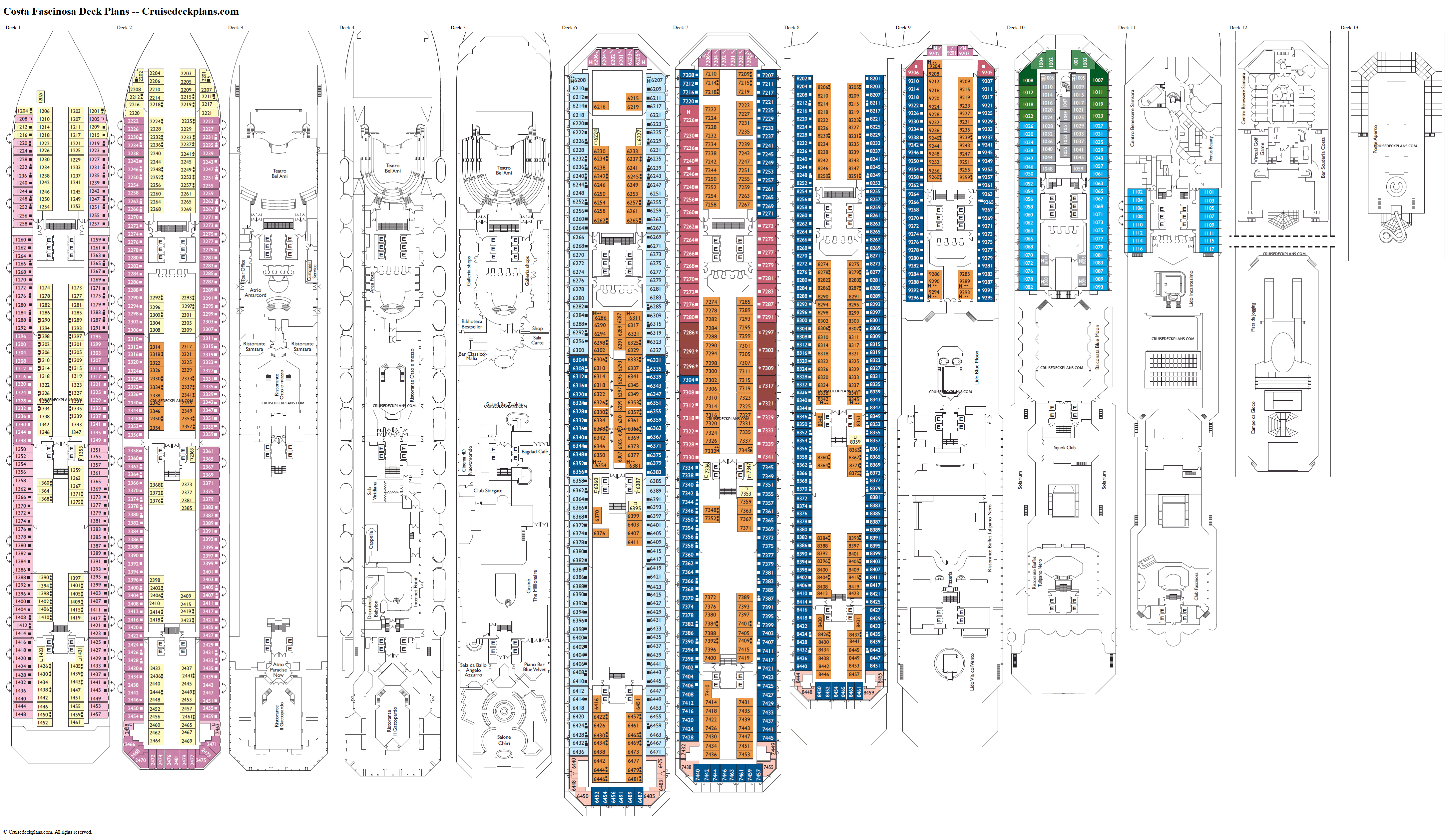 Costa Fascinosa deck plans image