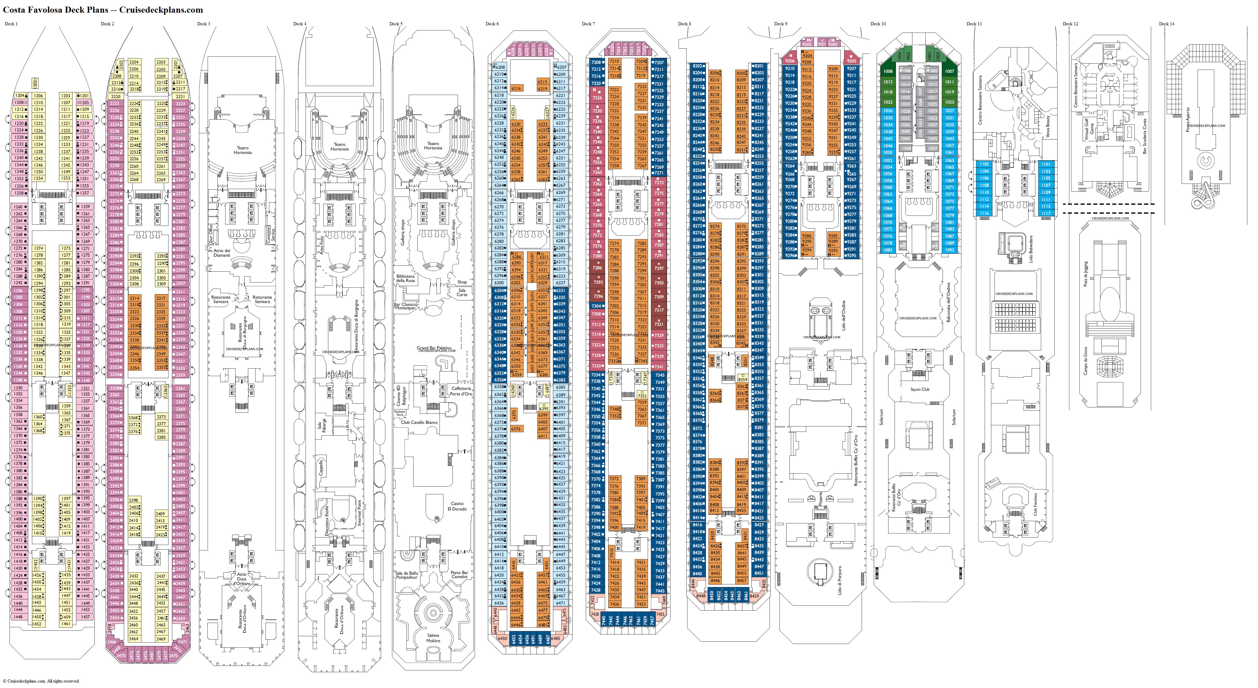 Costa Favolosa deck plans image