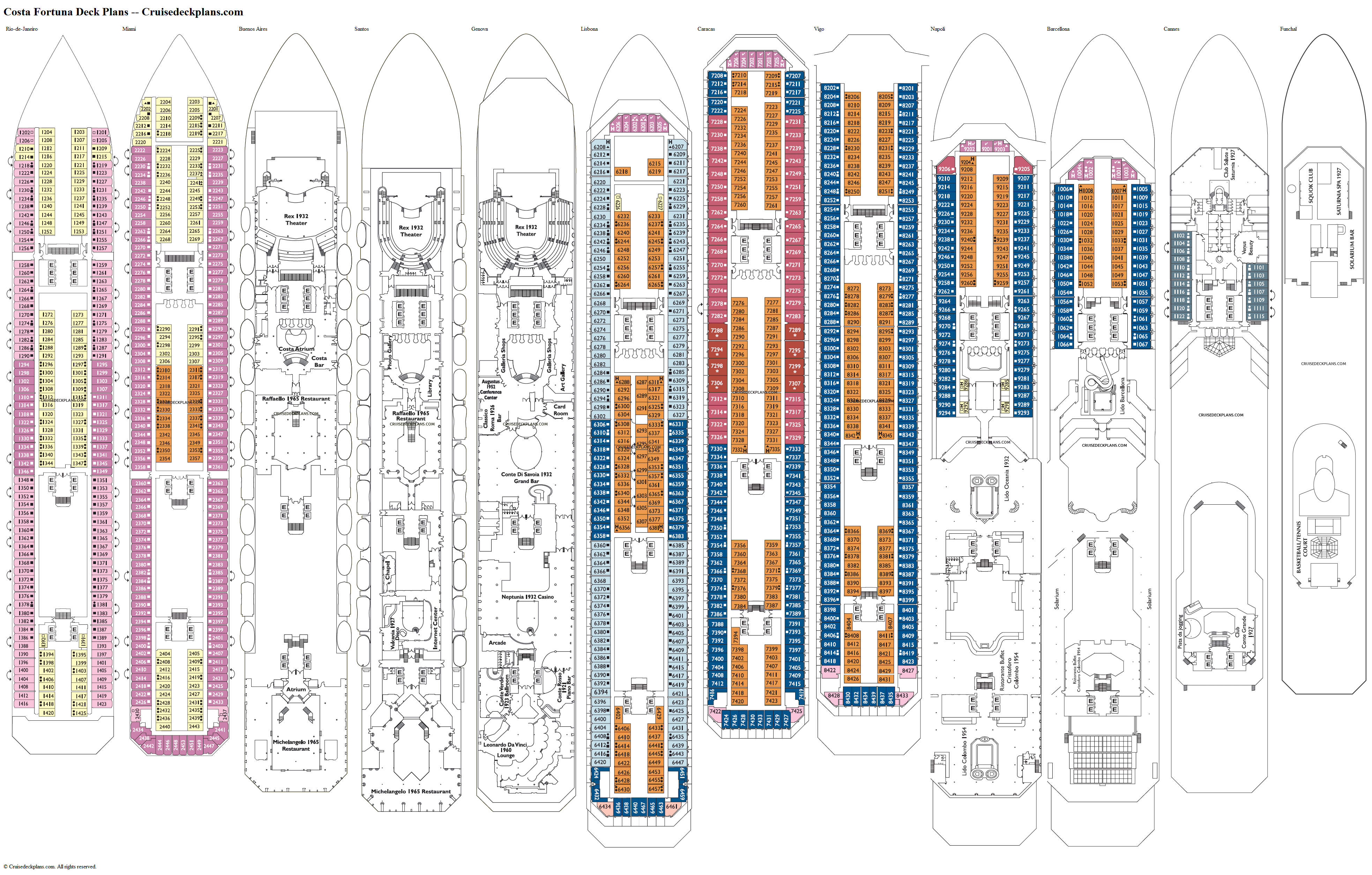 Costa Fortuna deck plans image