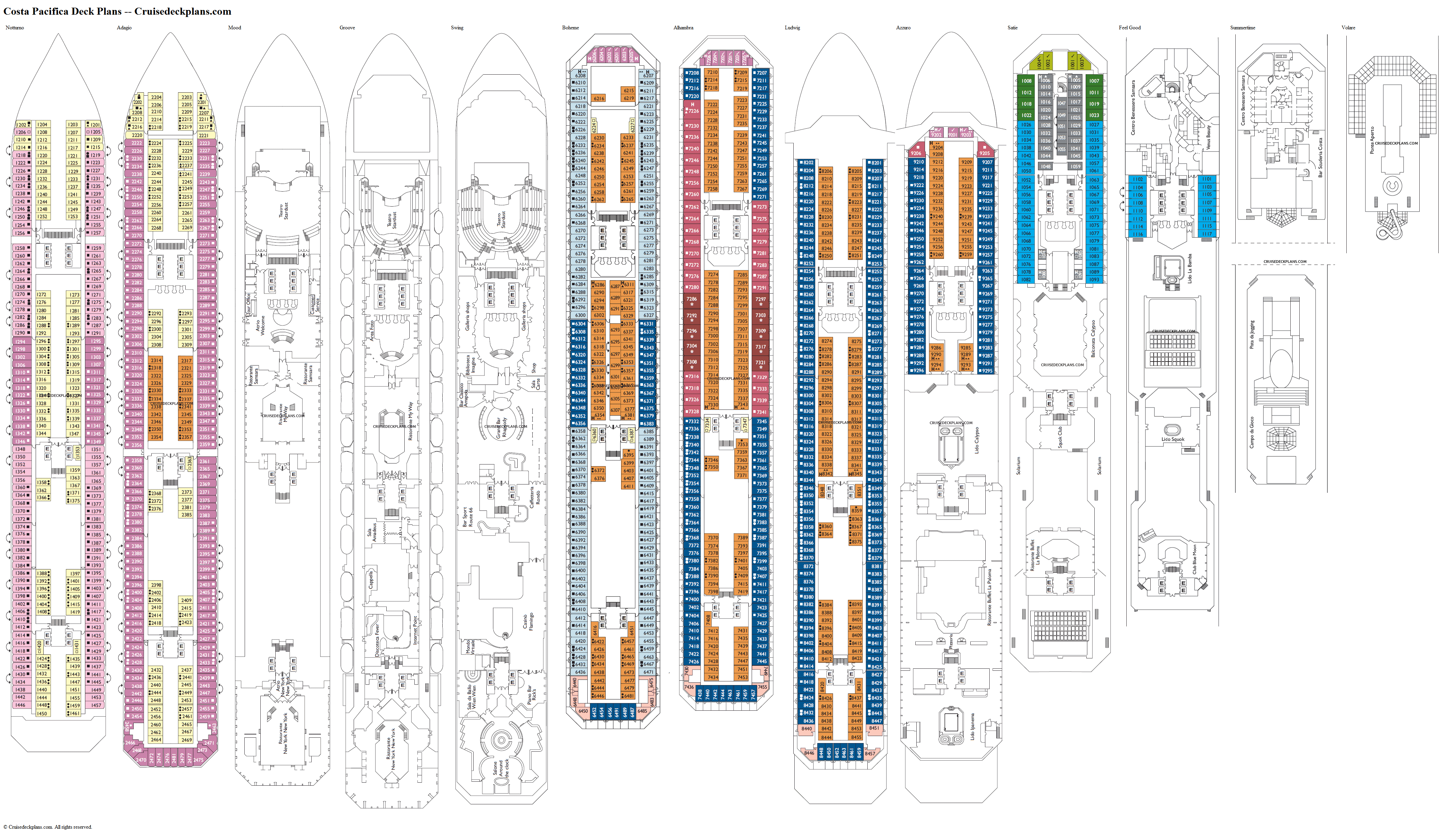Costa Pacifica deck plans image