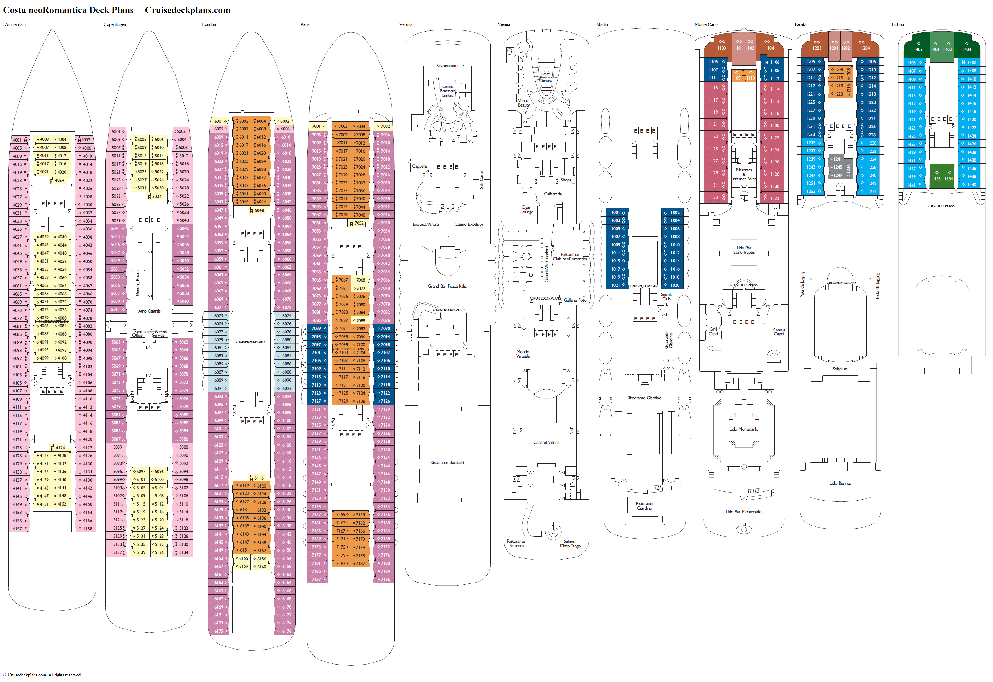 Costa neoRomantica deck plans image