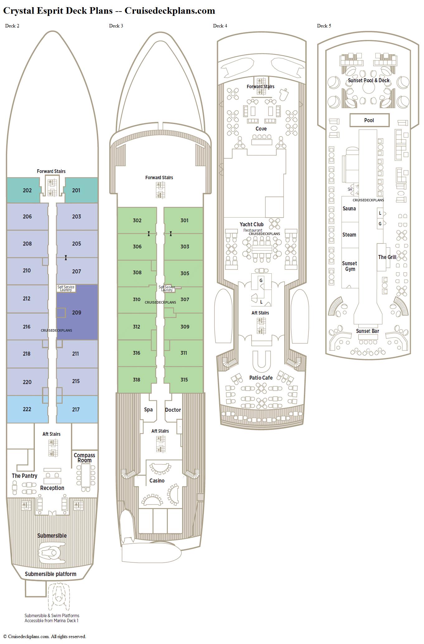 Crystal Esprit Deck 3 Deck Plan Tour