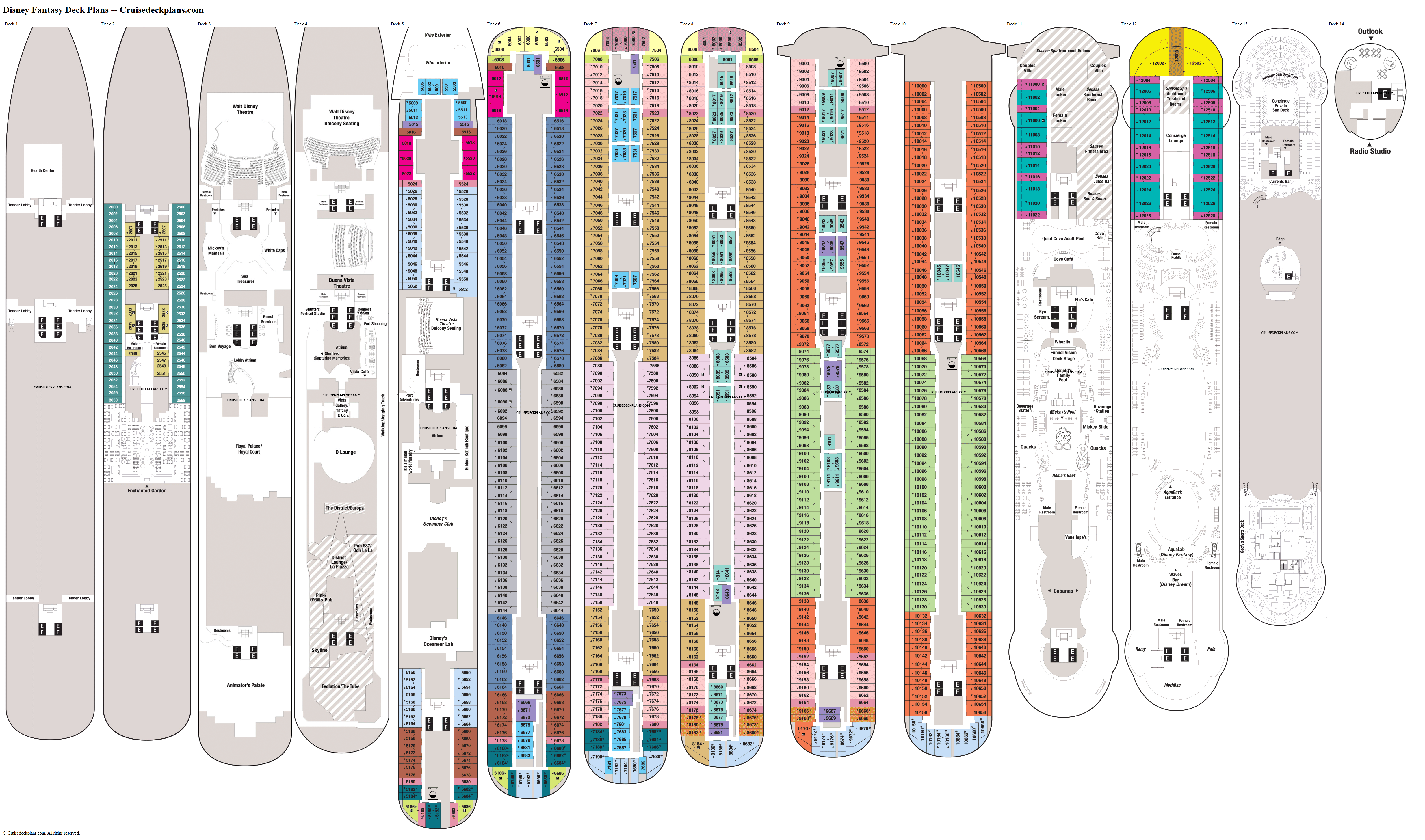 Disney Fantasy deck plans image