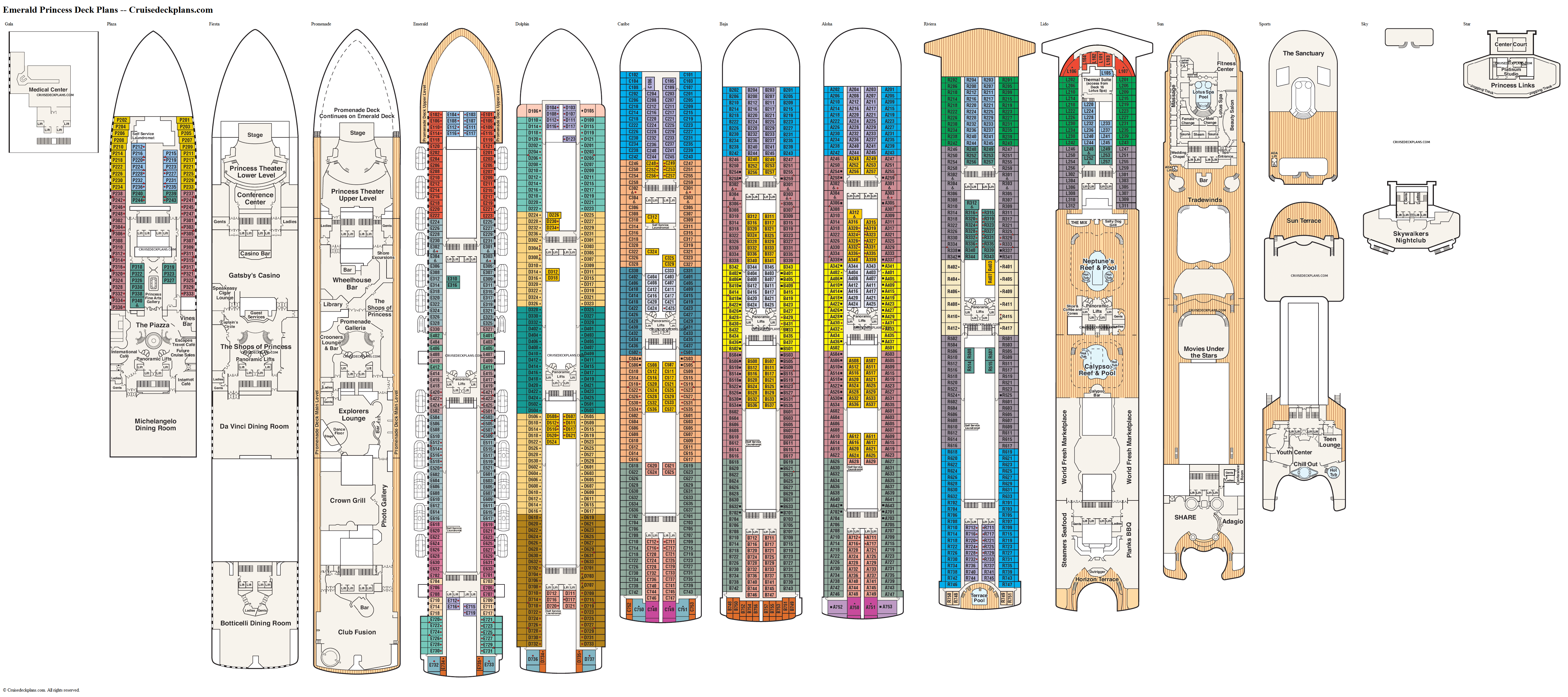 Emerald Princess deck plans image