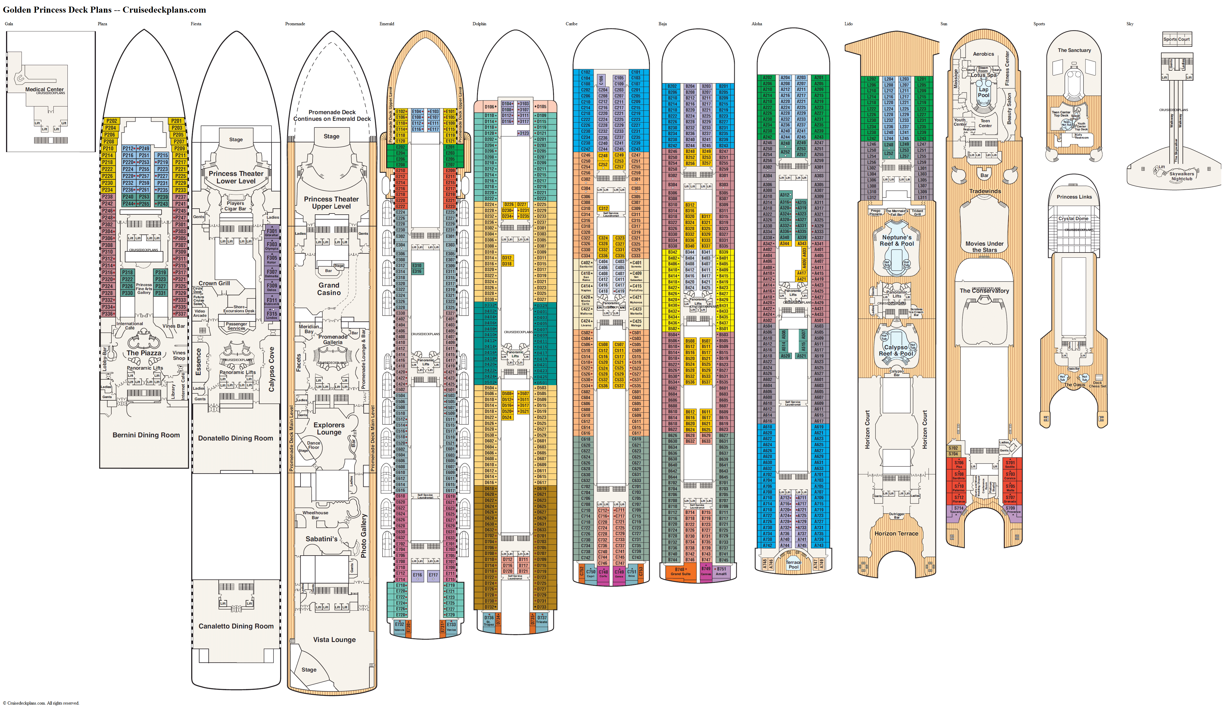Golden Princess deck plans image