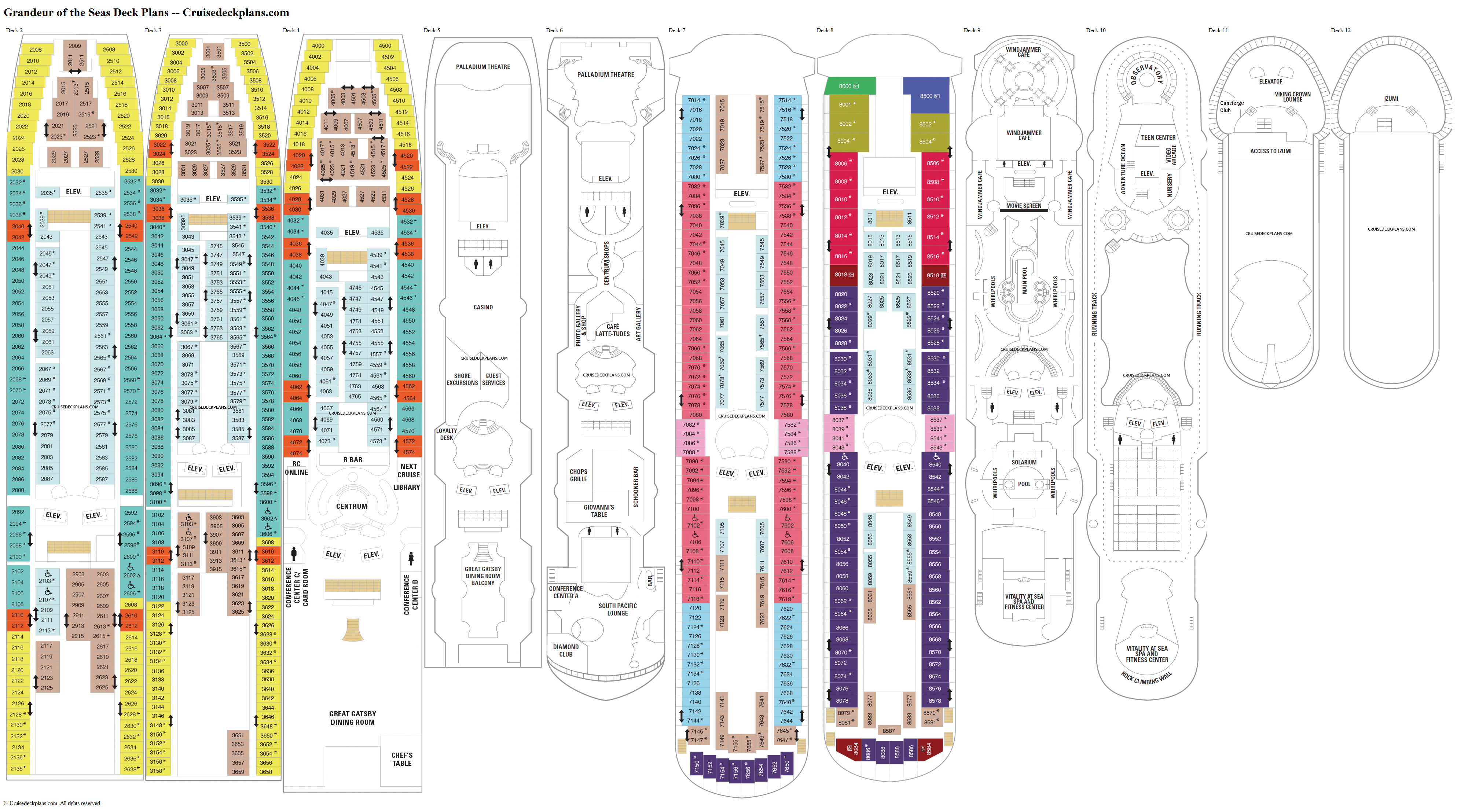Grandeur of the Seas deck plans image