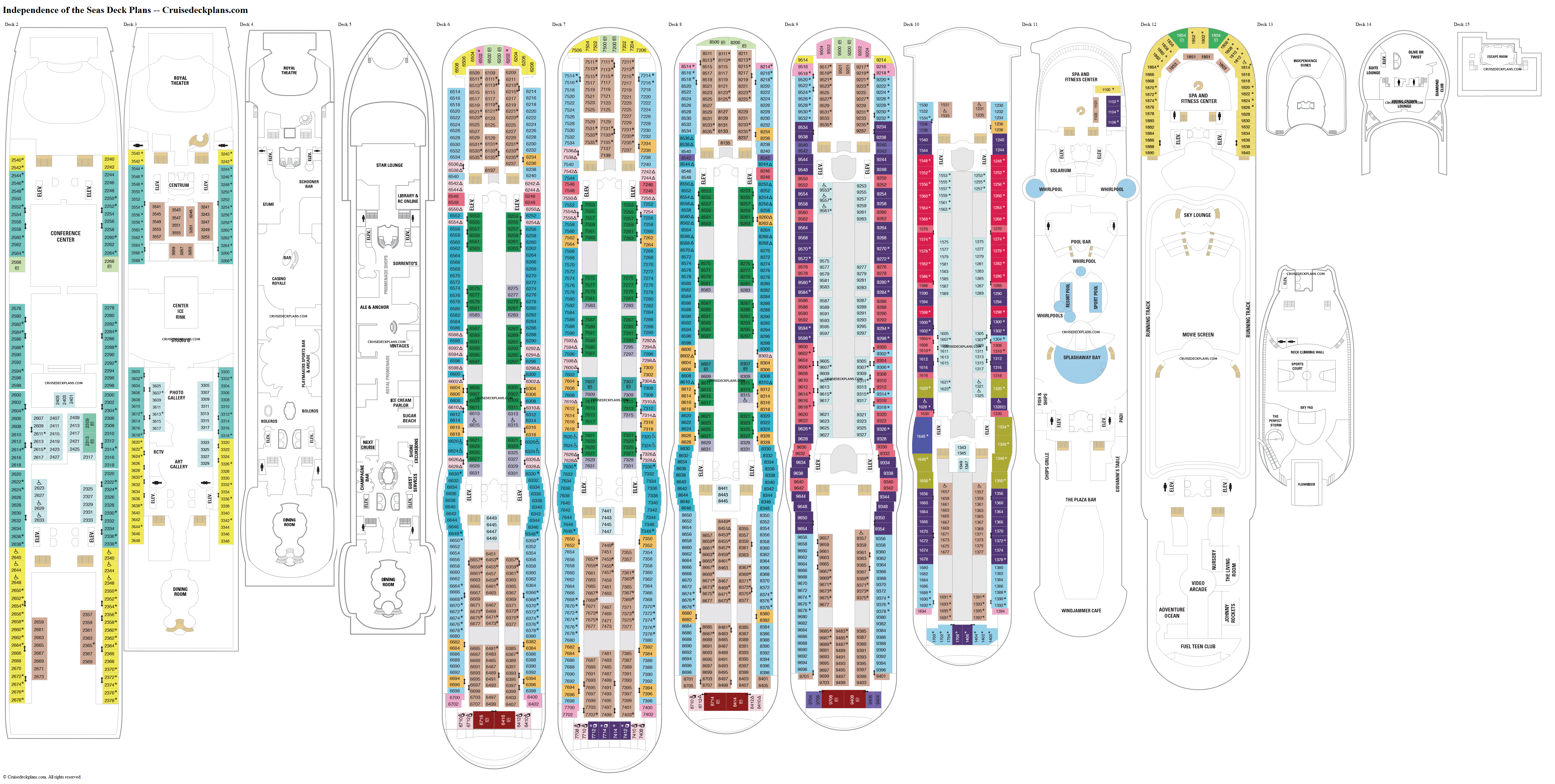 Independence of the Seas deck plans image