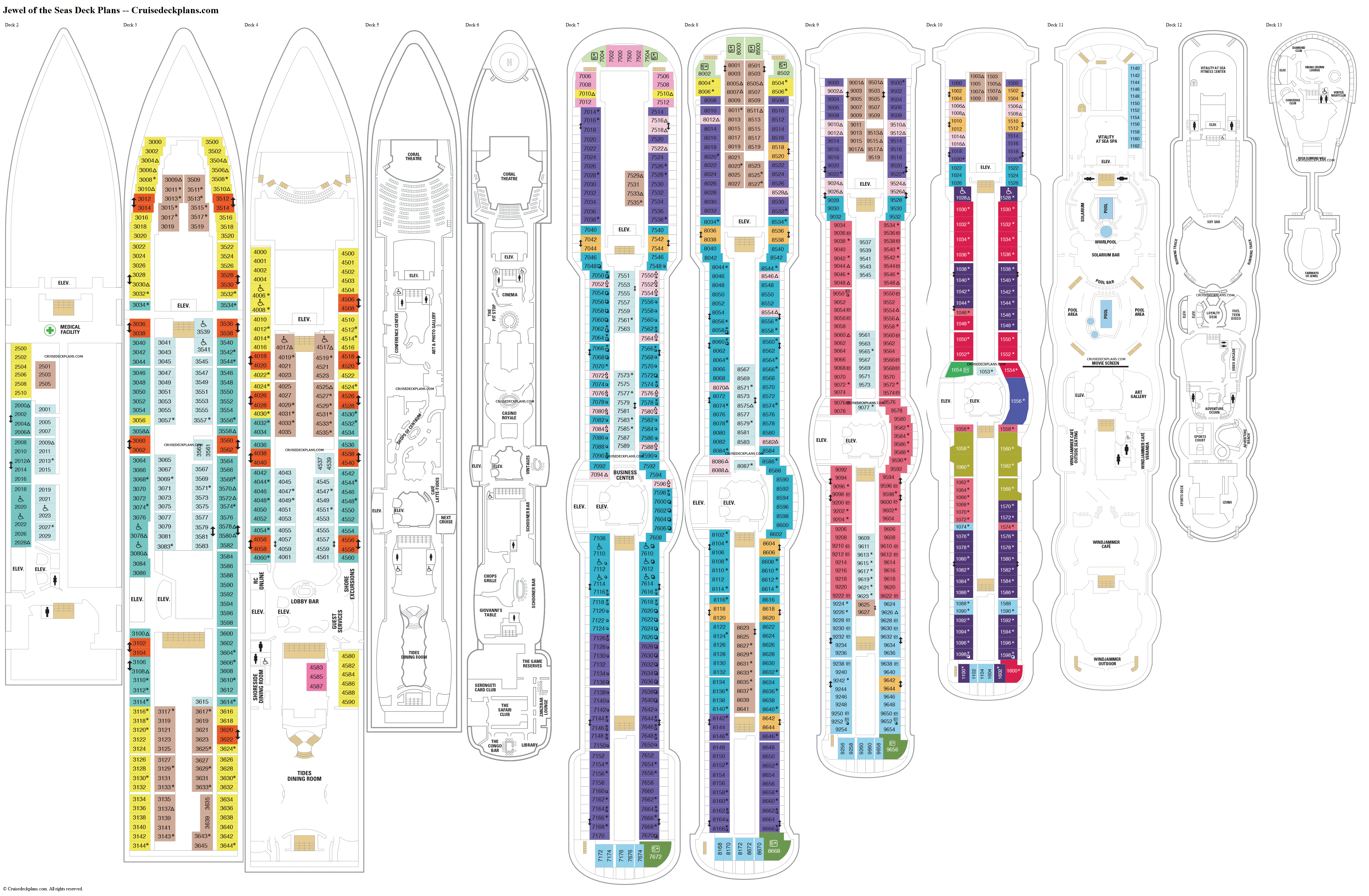Jewel of the Seas deck plans image