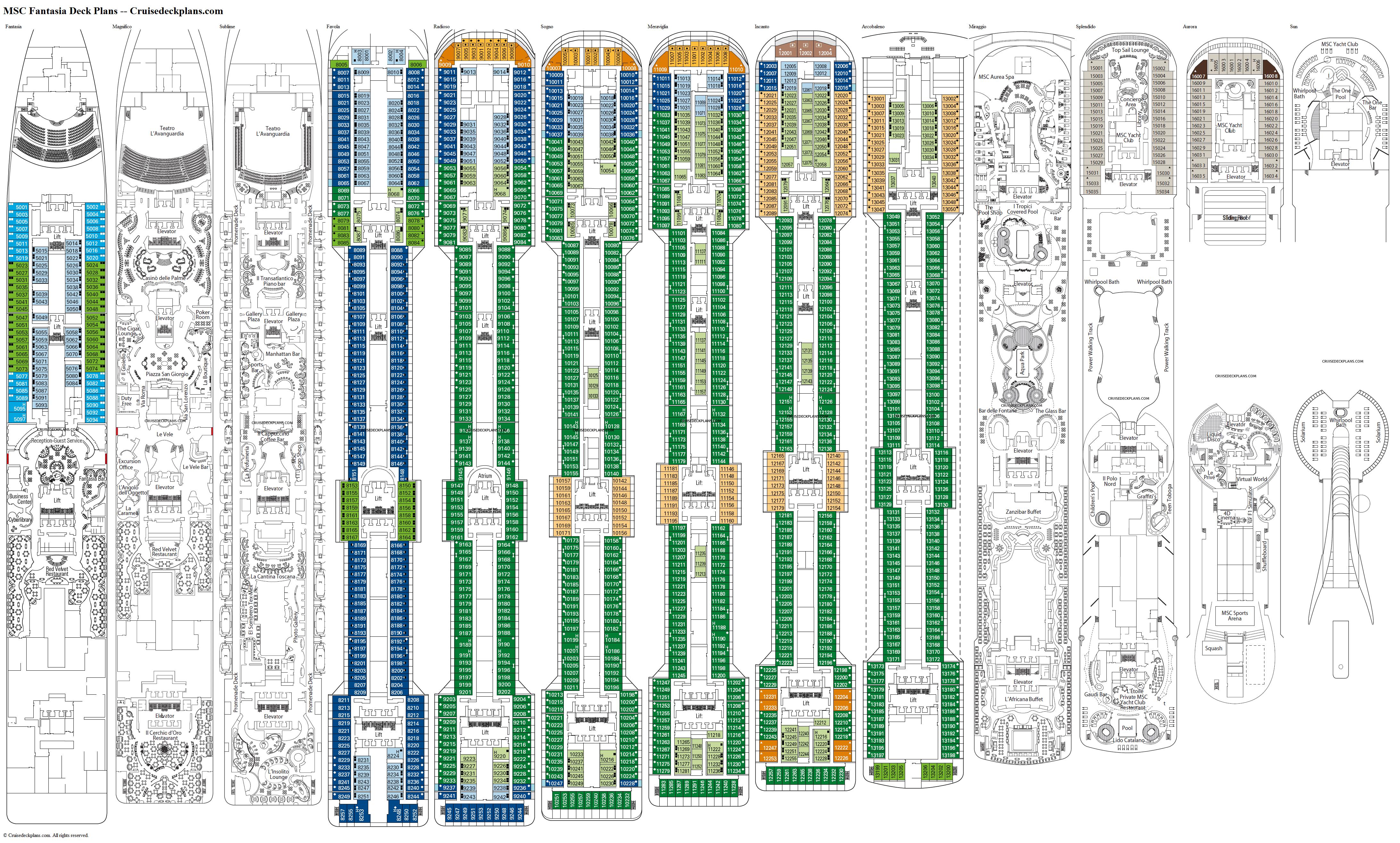 MSC Fantasia Radioso Deck Plan Tour