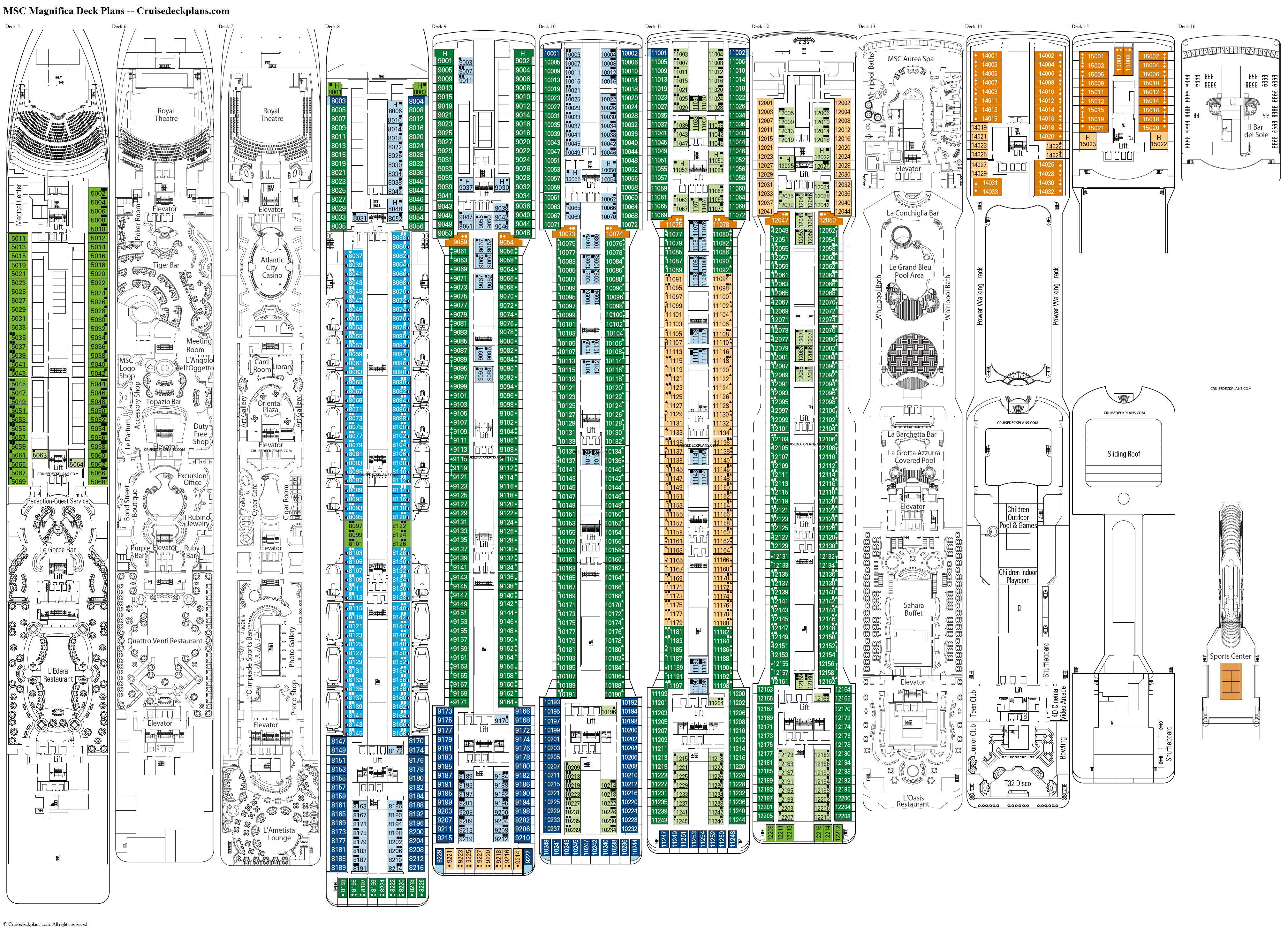 Msc magnifica deck plans diagrams pictures video for Deck blueprints