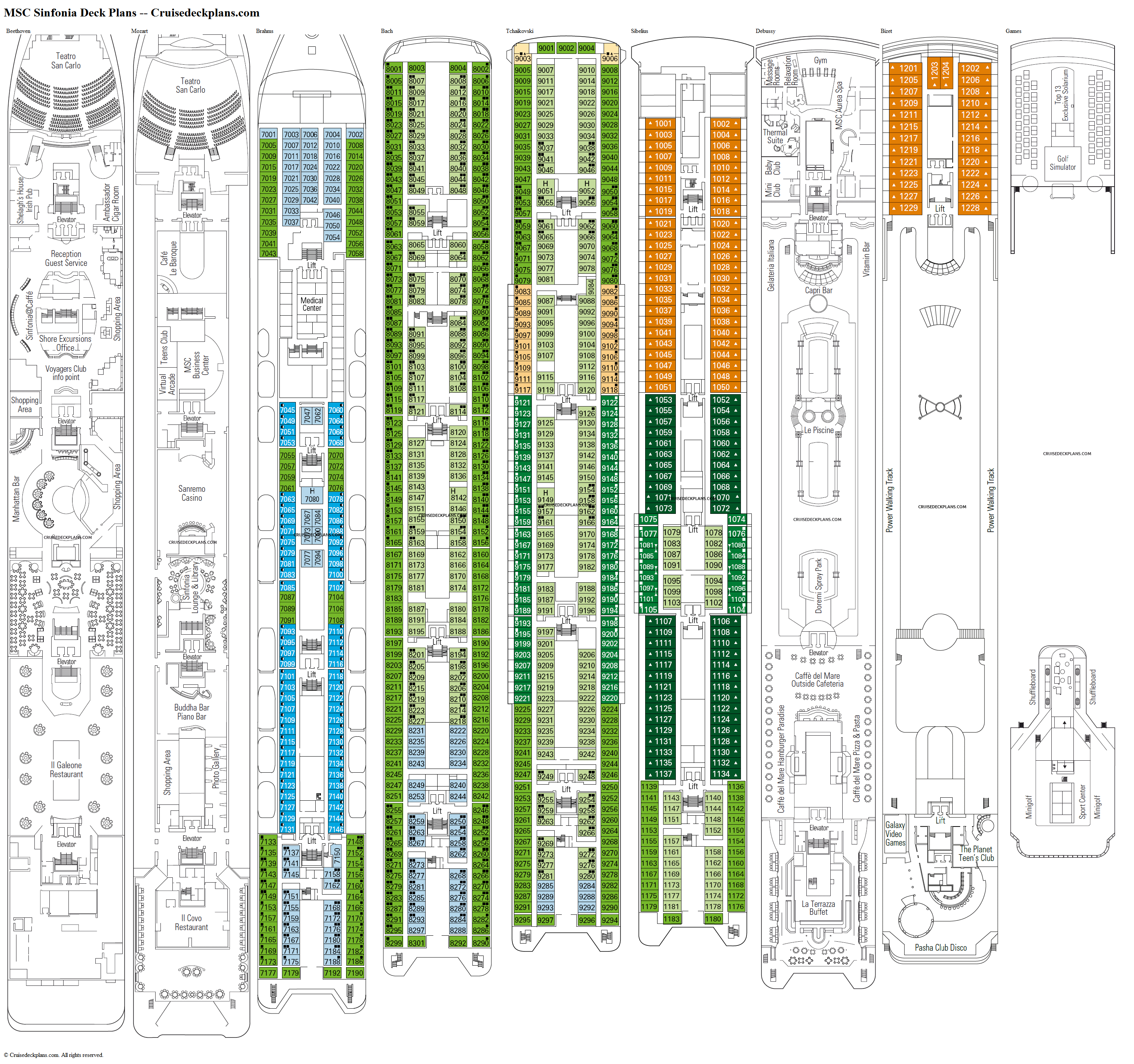 MSC Sinfonia deck plans image