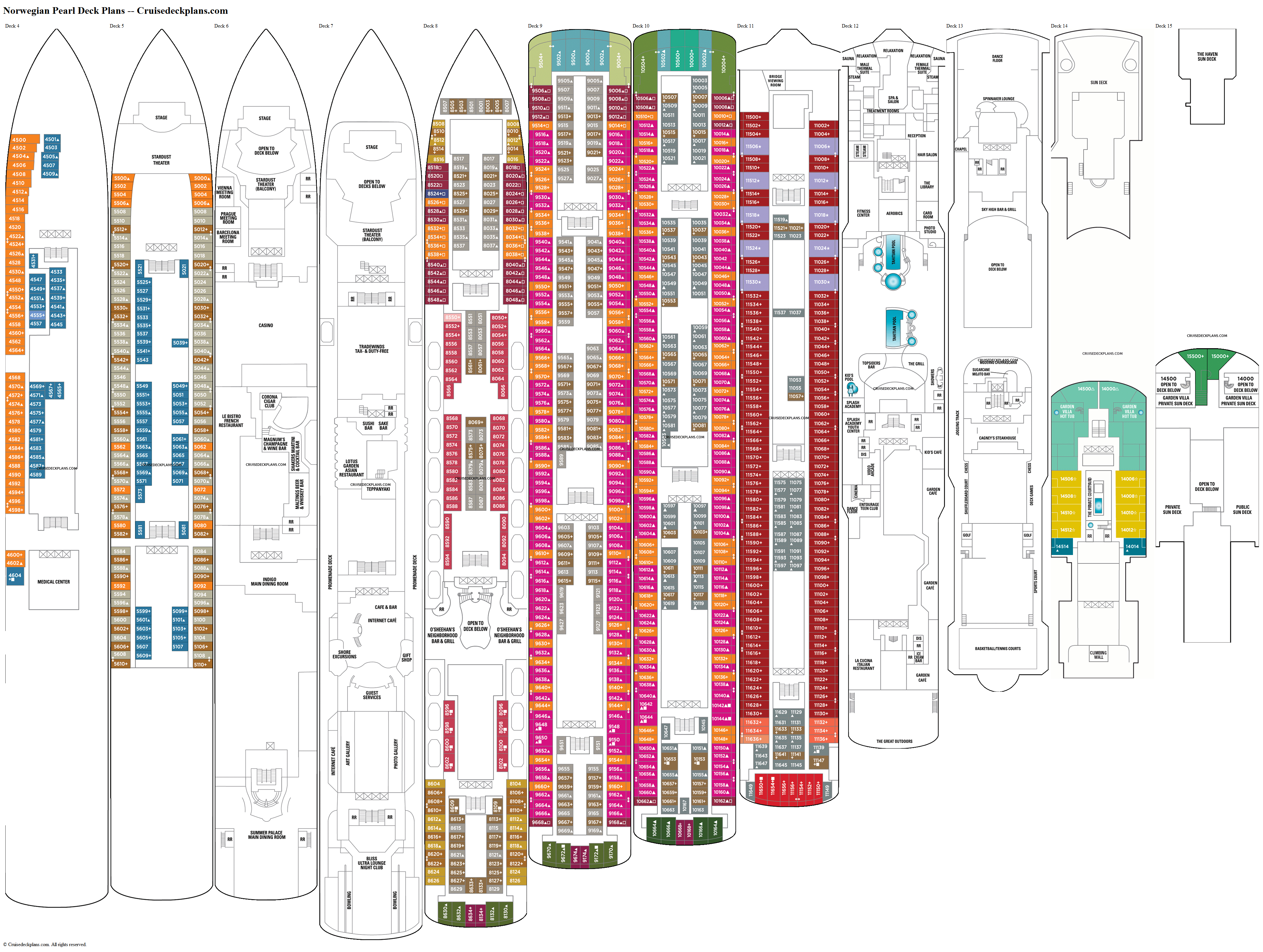 Norwegian Pearl deck plans image