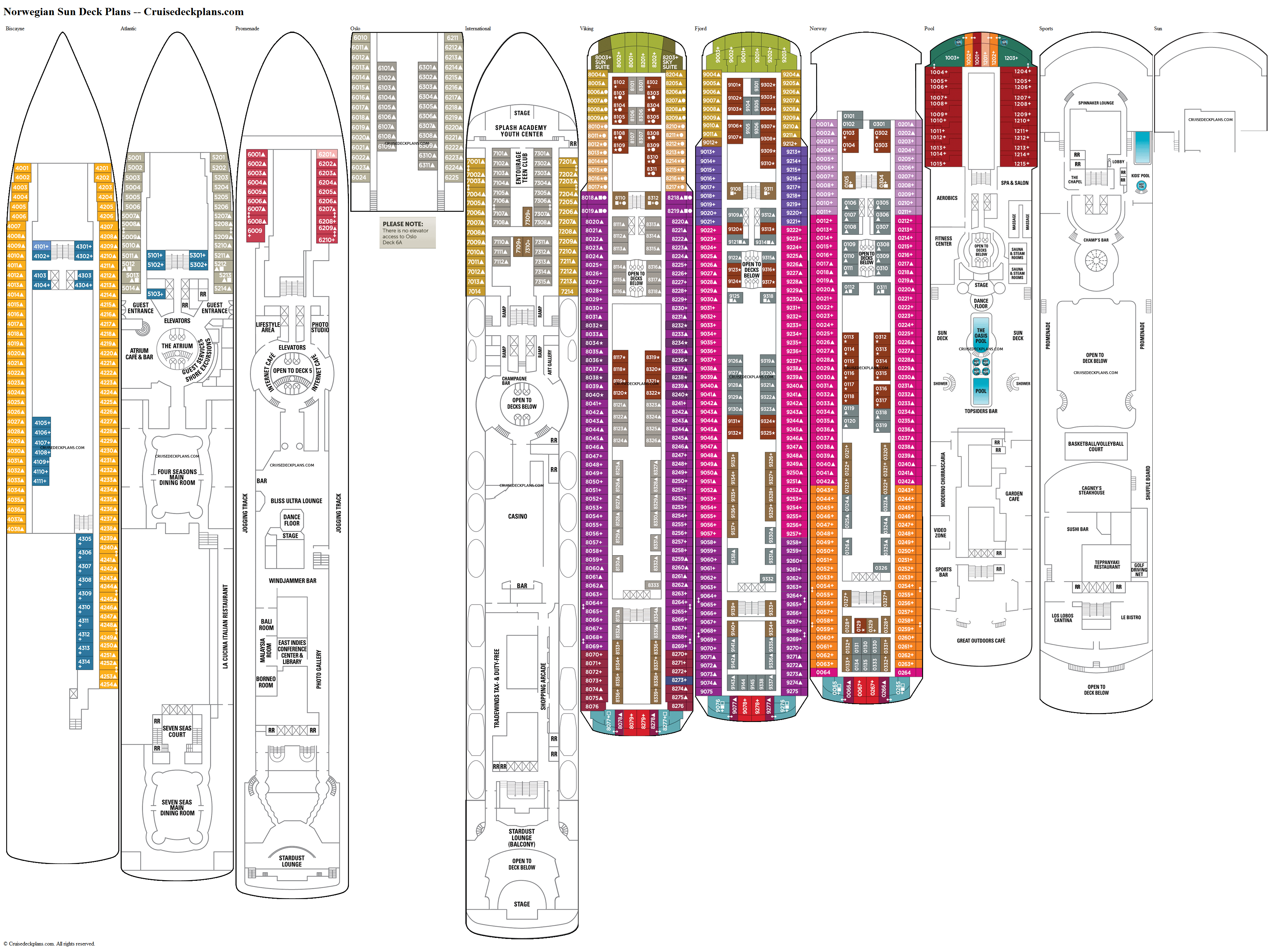 Norwegian Sun deck plans image