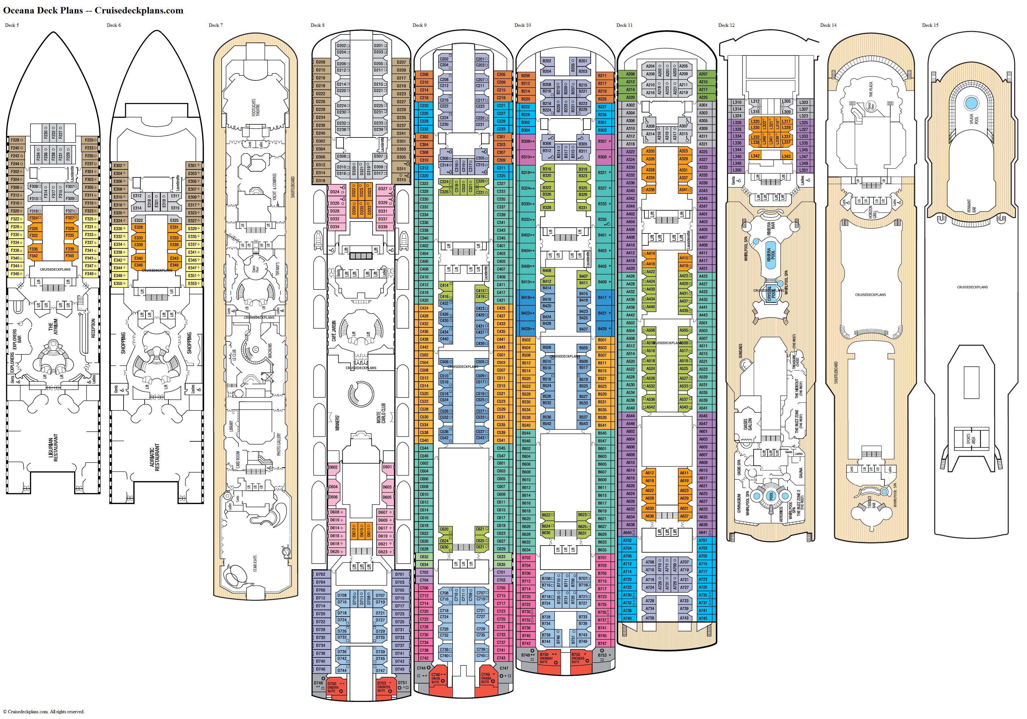Oceana deck 11 deck plan tour for Deck blueprints online