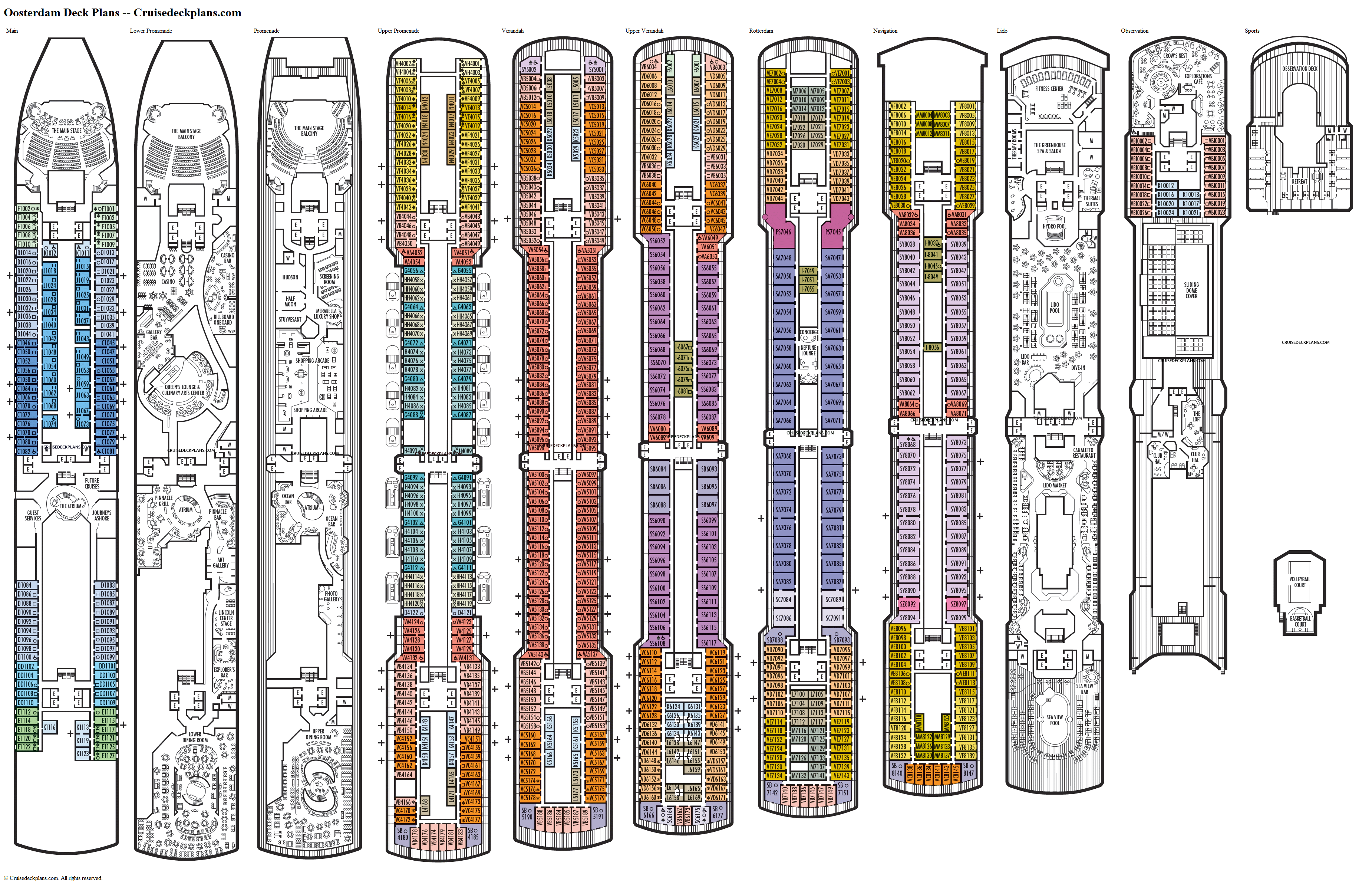 Oosterdam deck plans image