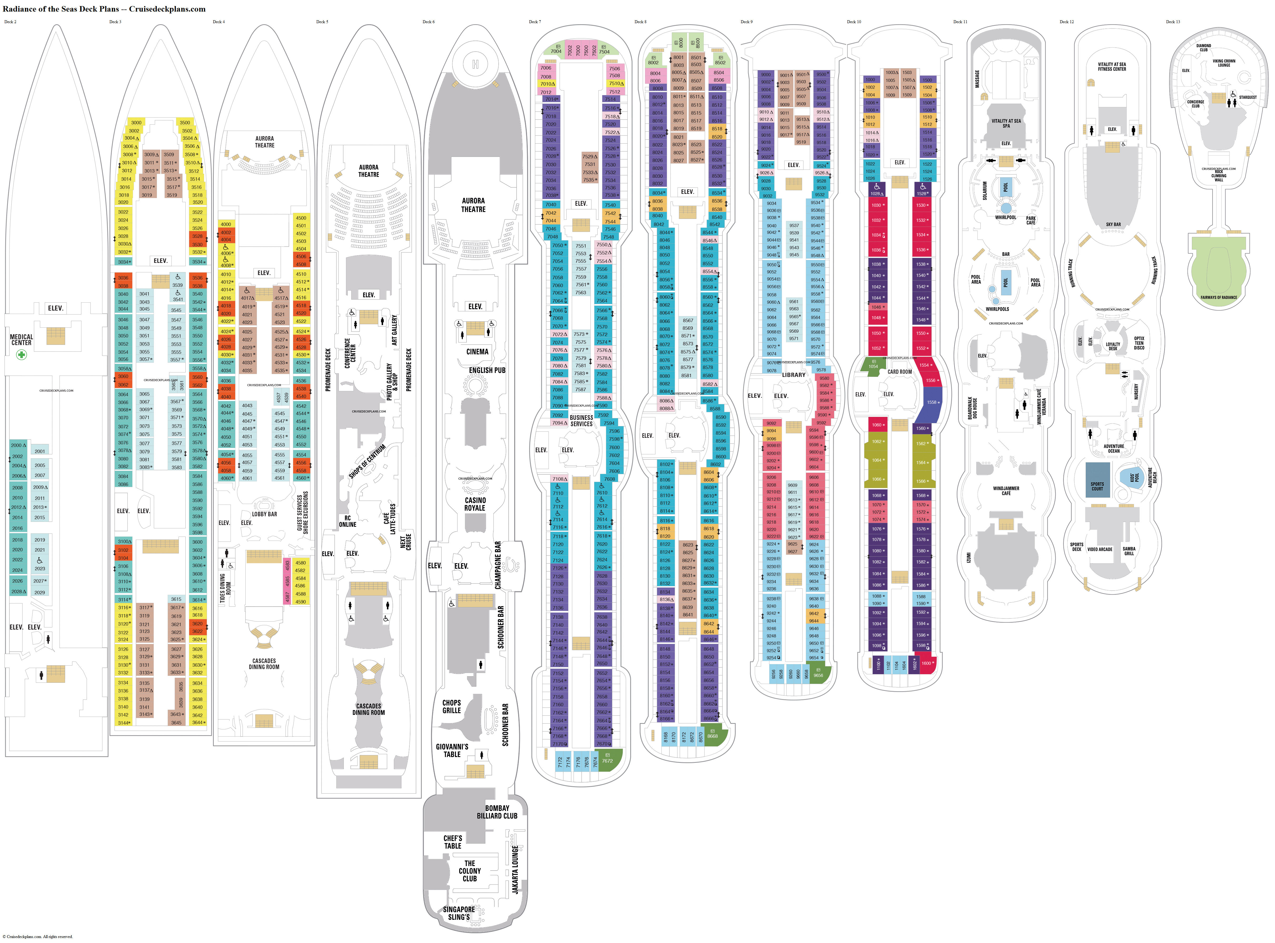Radiance of the Seas deck plans image