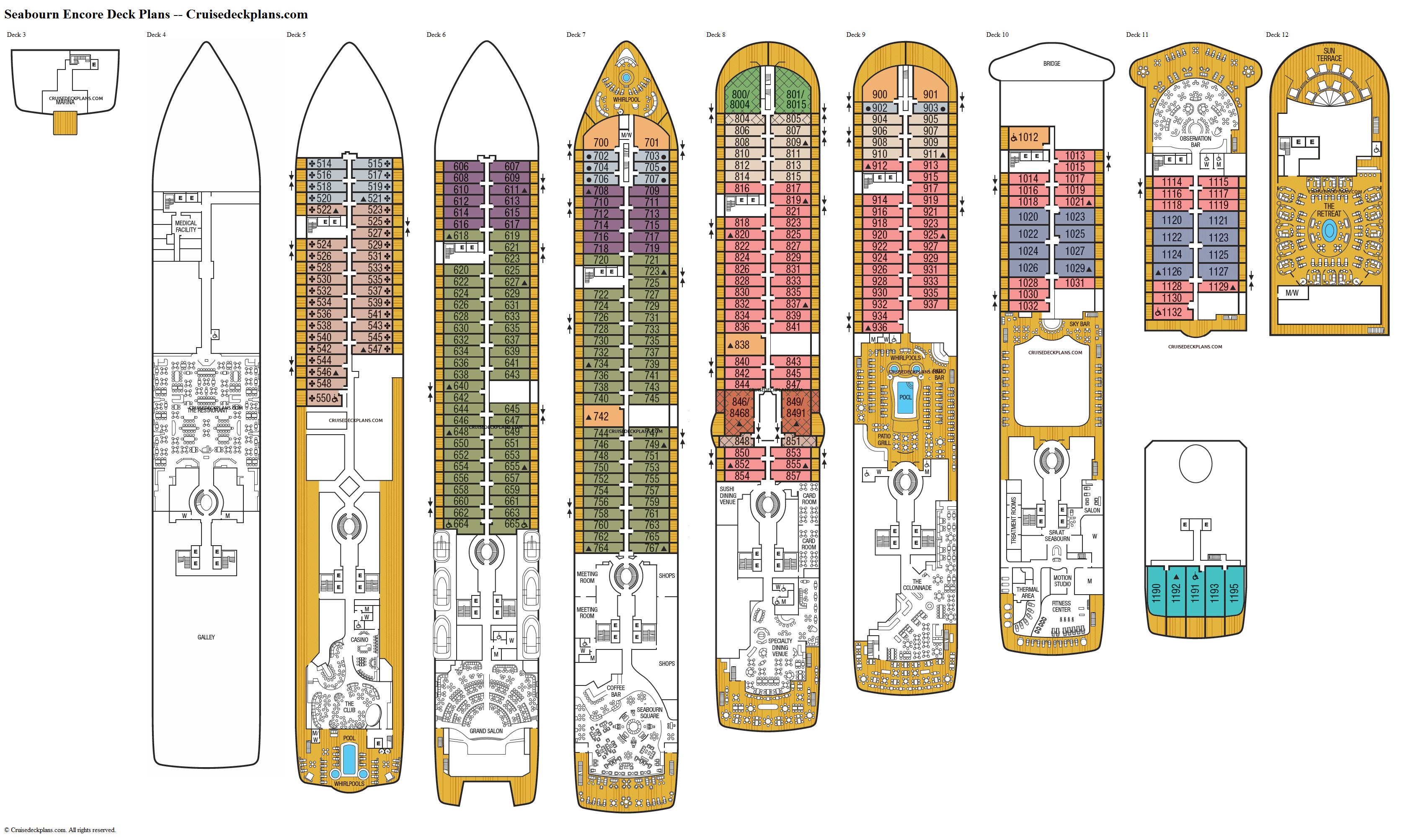 Seabourn Encore deck plans image