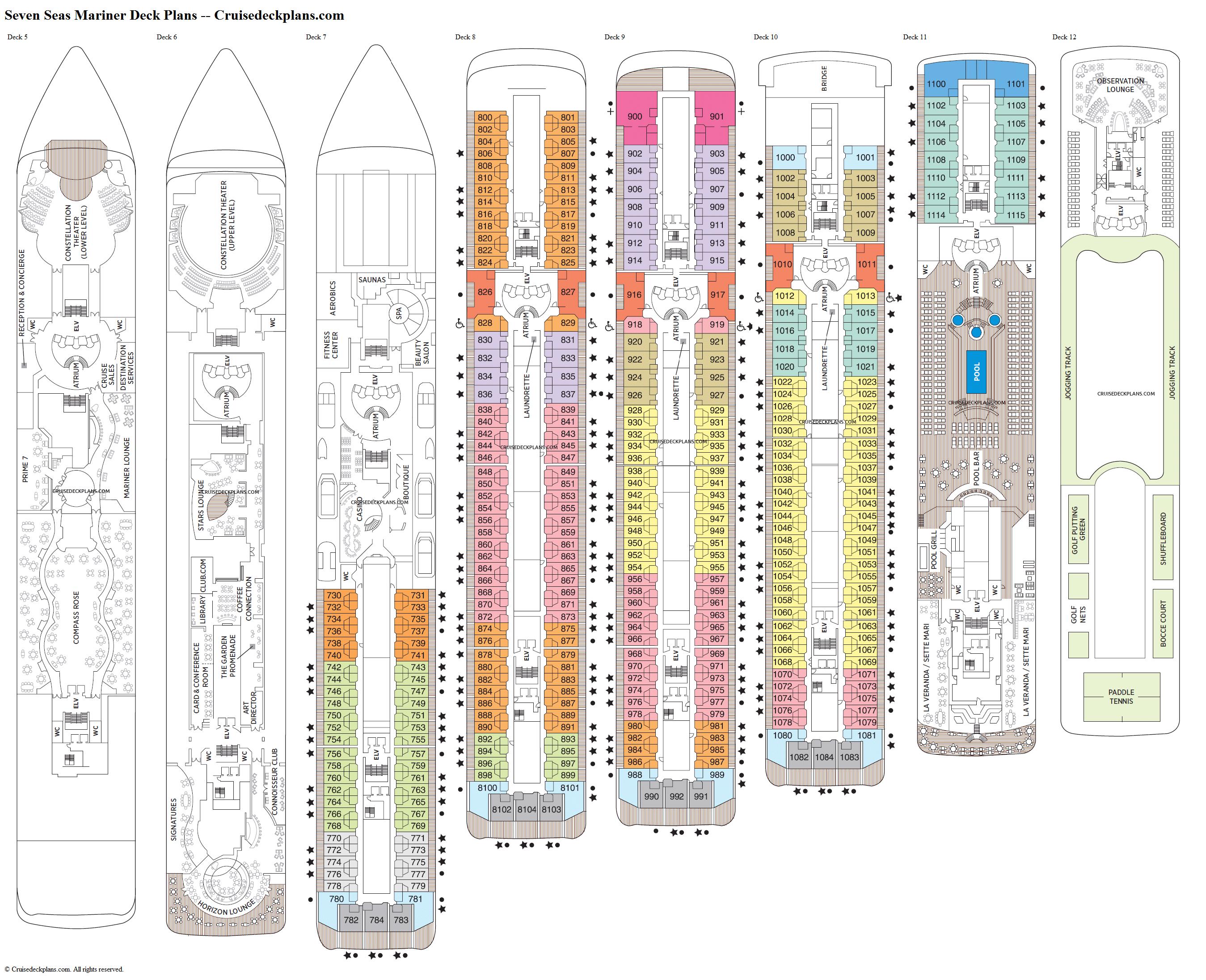 Seven Seas Mariner Deck 12 Deck Plan Tour