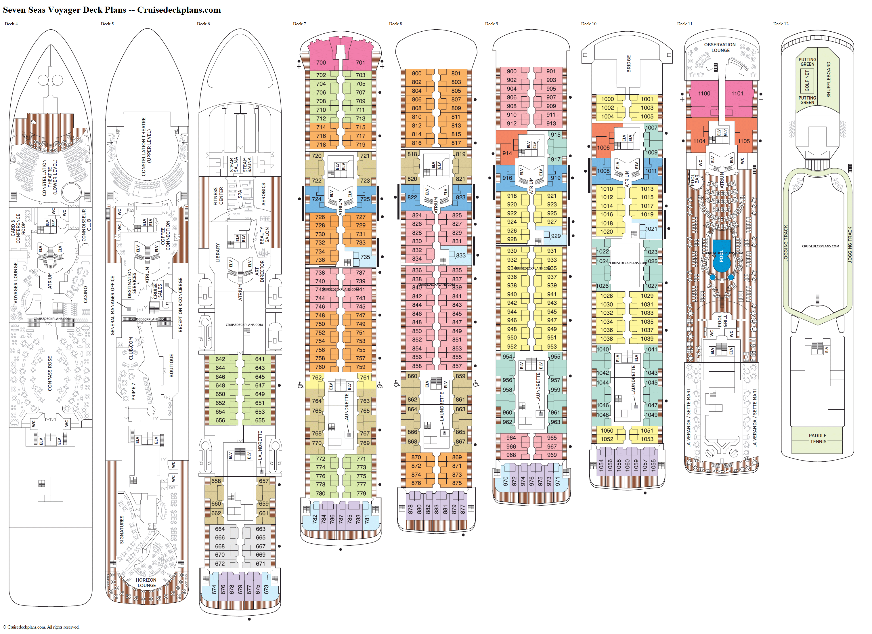 Seven Seas Voyager deck plans image