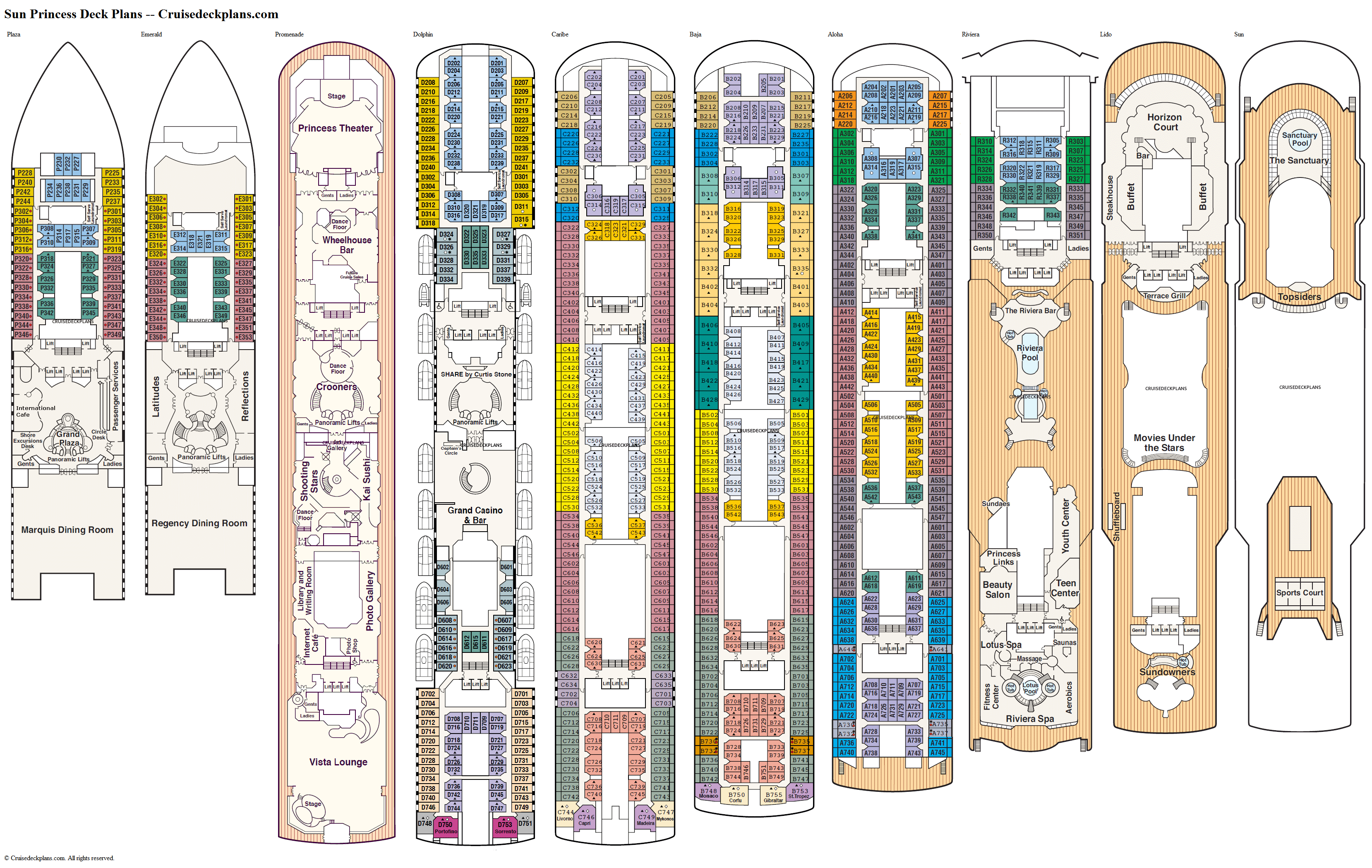 Sun Princess deck plans image