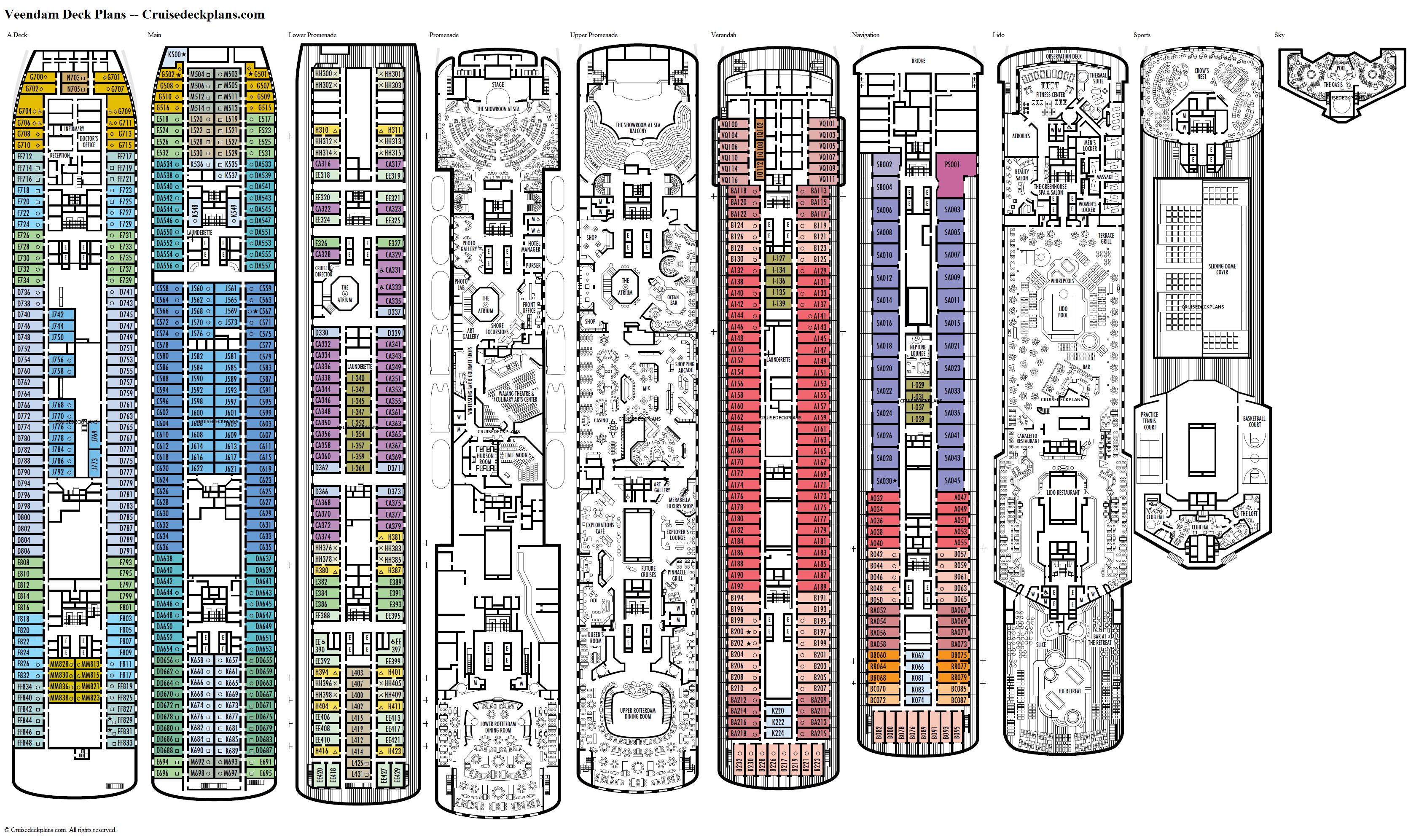 Veendam Deck Plans Diagrams Pictures Video