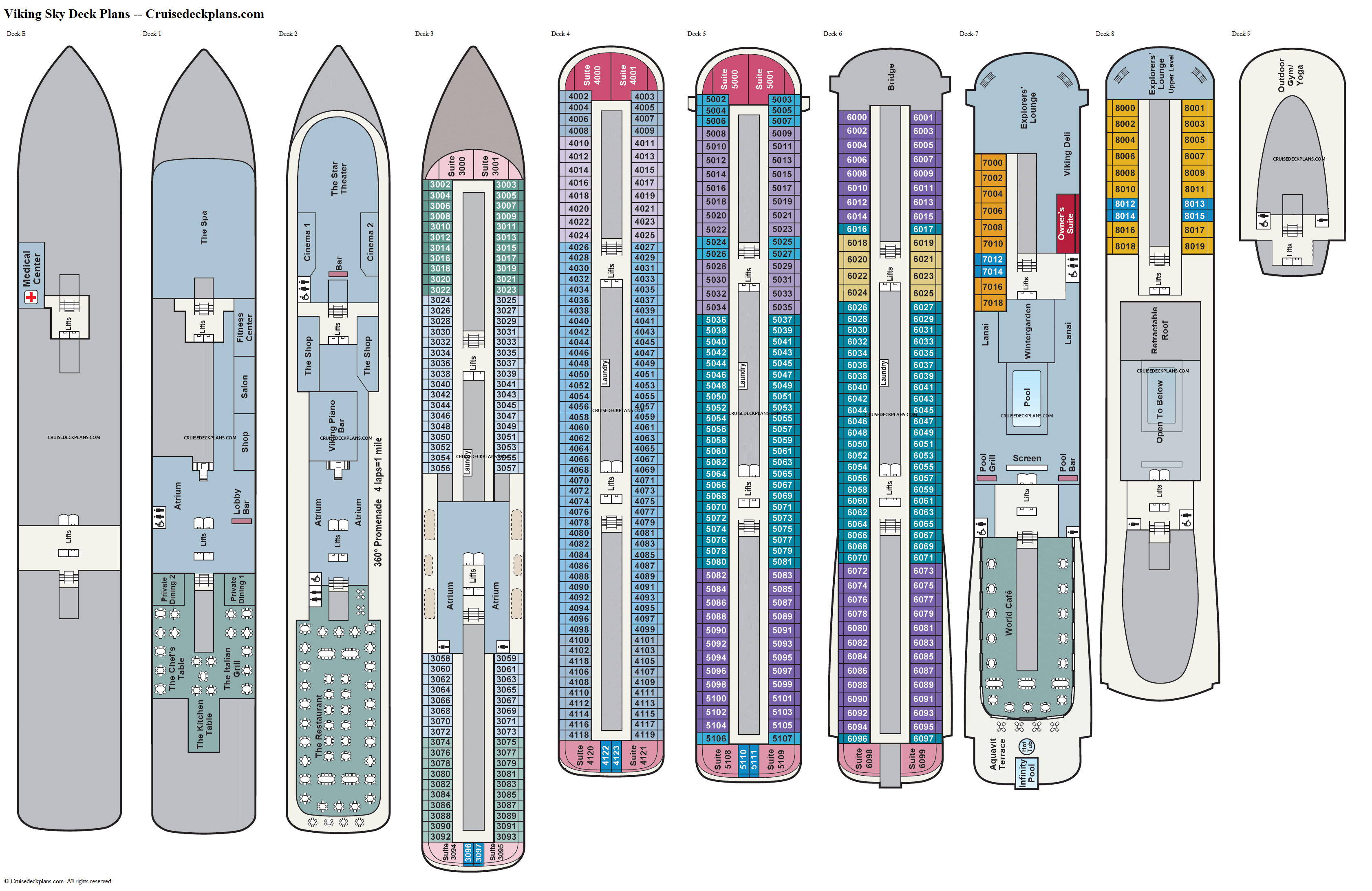 Viking Sky deck plans image