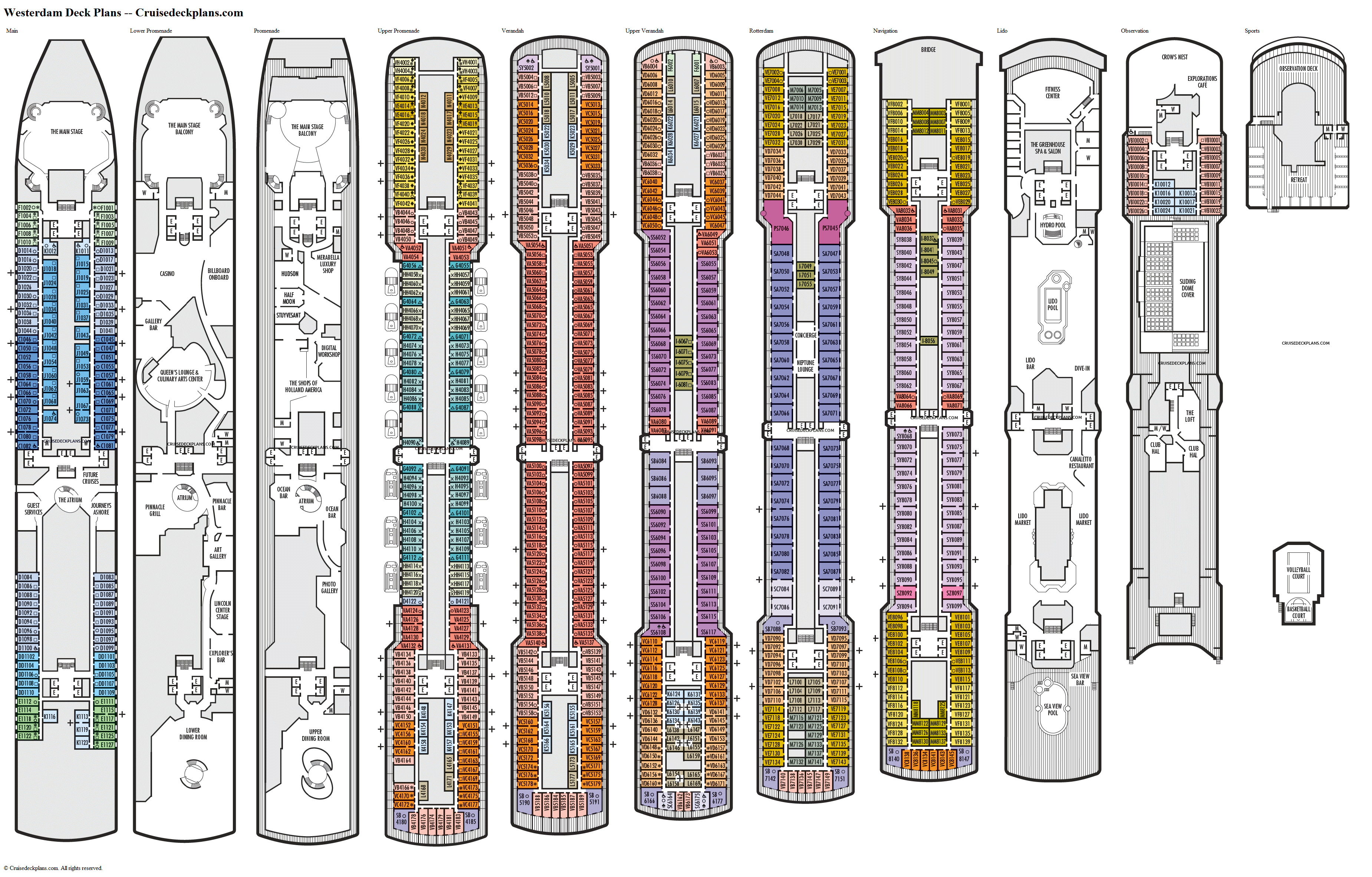 Westerdam deck plans image