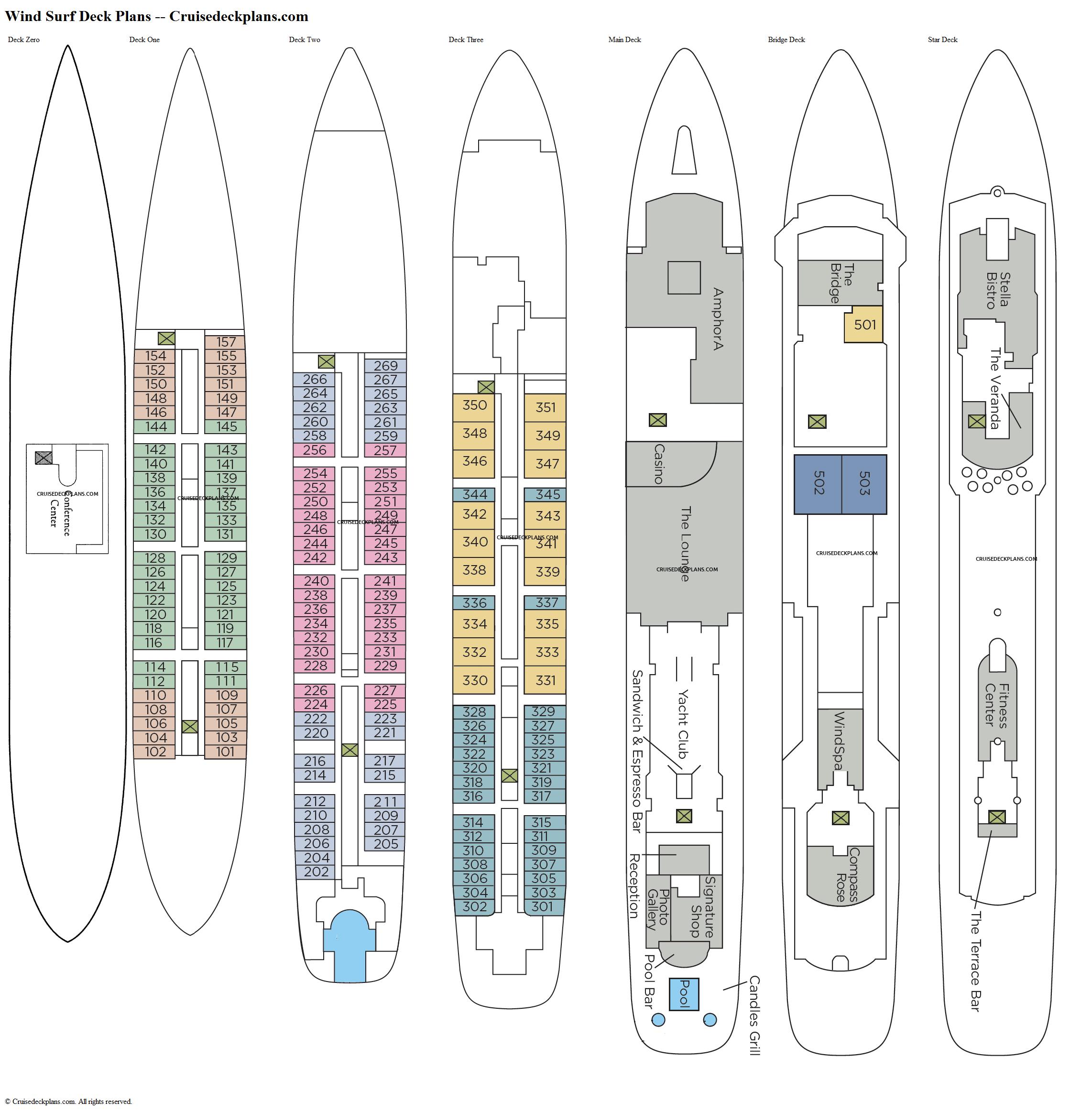 Wind Surf Deck Plans Diagrams Pictures Video - Cruise ship floor plans
