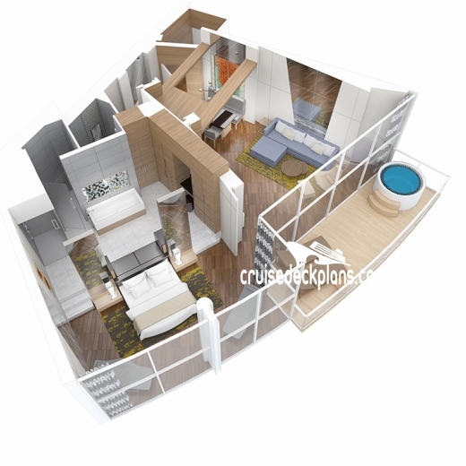 Allure of the Seas Owner and Grand Loft Suite Diagram Layout