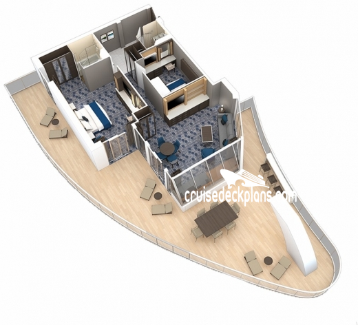 Allure of the Seas Aqua Theater Suite - 2 Bedroom Diagram Layout