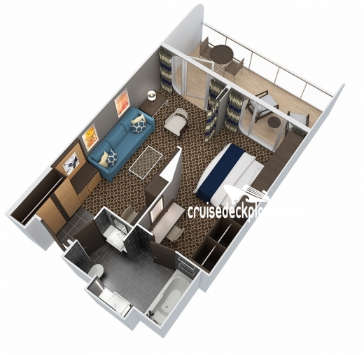 Anthem of the Seas Grand Suite - 1 Bedroom Diagram Layout
