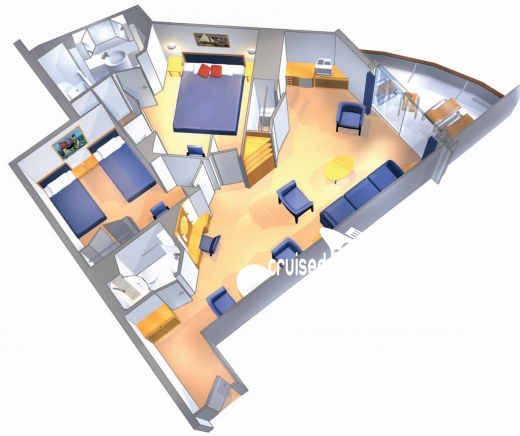 Brilliance of the Seas Grand Suite - 2 Bedroom Diagram Layout