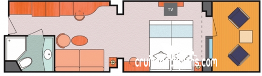 Costa Luminosa Mini-Suite Diagram Layout