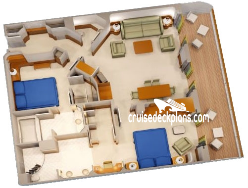 Disney Wonder Two Bedroom Suite Diagram Layout
