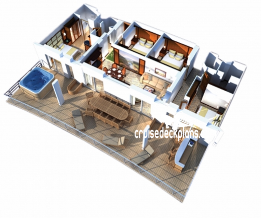 Independence of the Seas Villa Suite - 4 Bedroom Diagram Layout