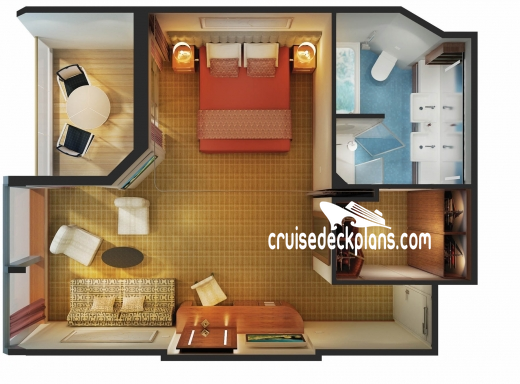 Norwegian Star Family Suite with balcony Diagram Layout