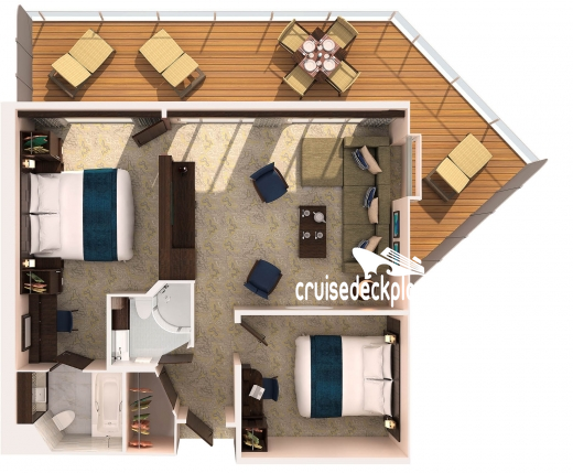 Ovation of the Seas Grand Suite - 2 Bedroom Diagram Layout