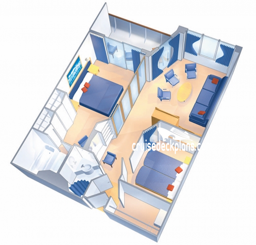 Rhapsody of the Seas Grand Suite - 2 Bedroom Diagram Layout